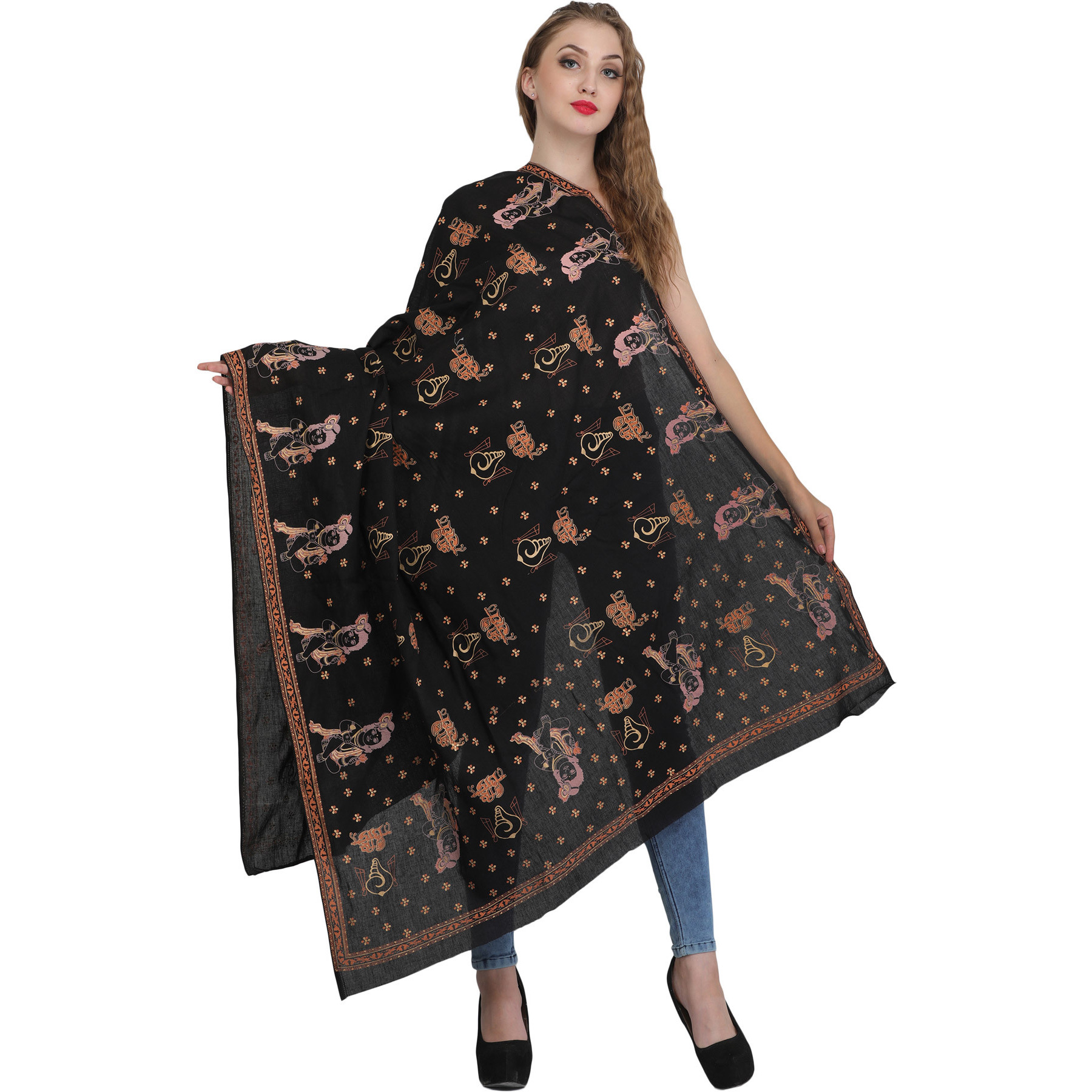 Black Shri Radhey Prayer Shawl with Printed Conch and Little Krishna
