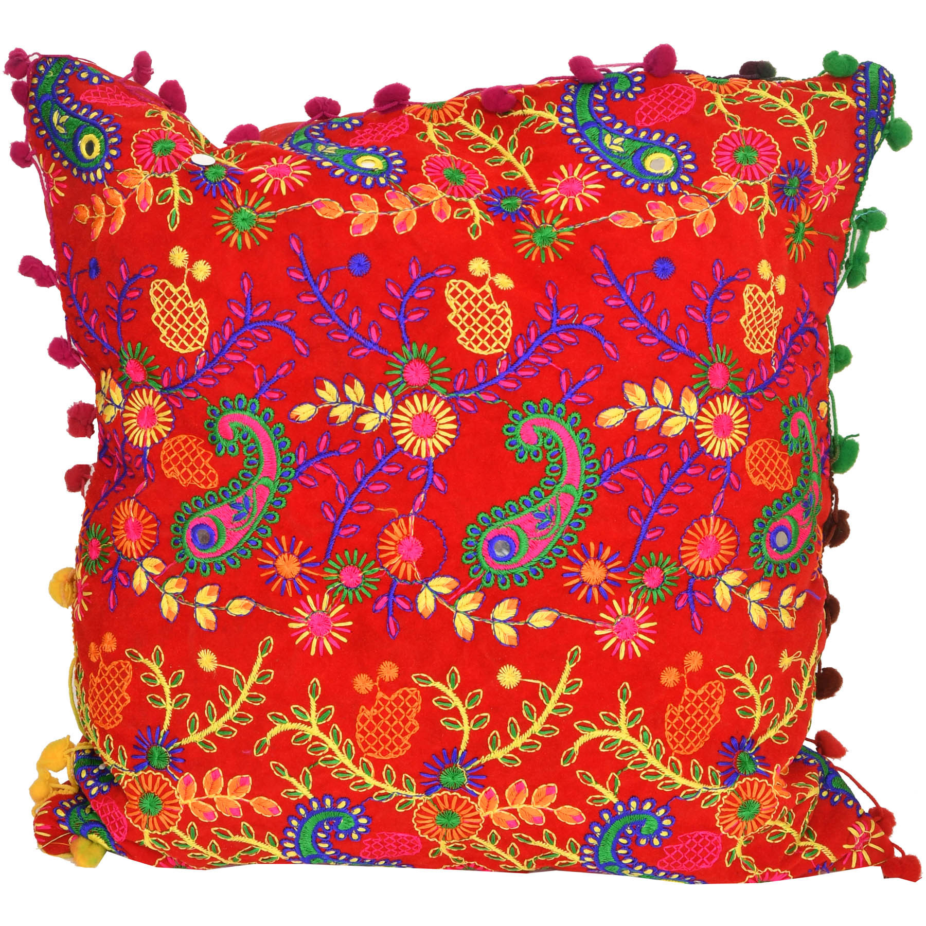 Chinese-Red Cushion Cover with Embroidered Paisleys and Mirrors