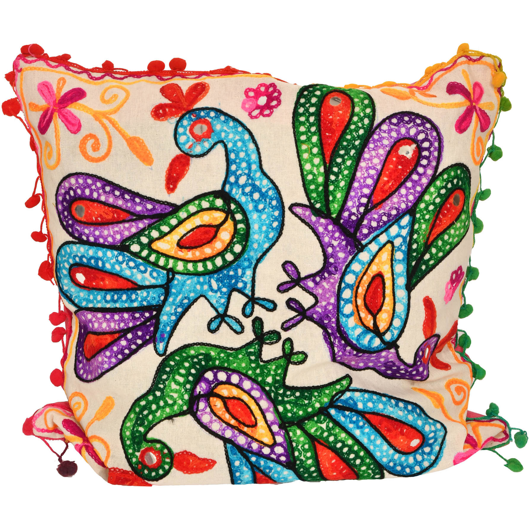 Cushion Cover with Ari-Embroidered Peacocks and Mirrors