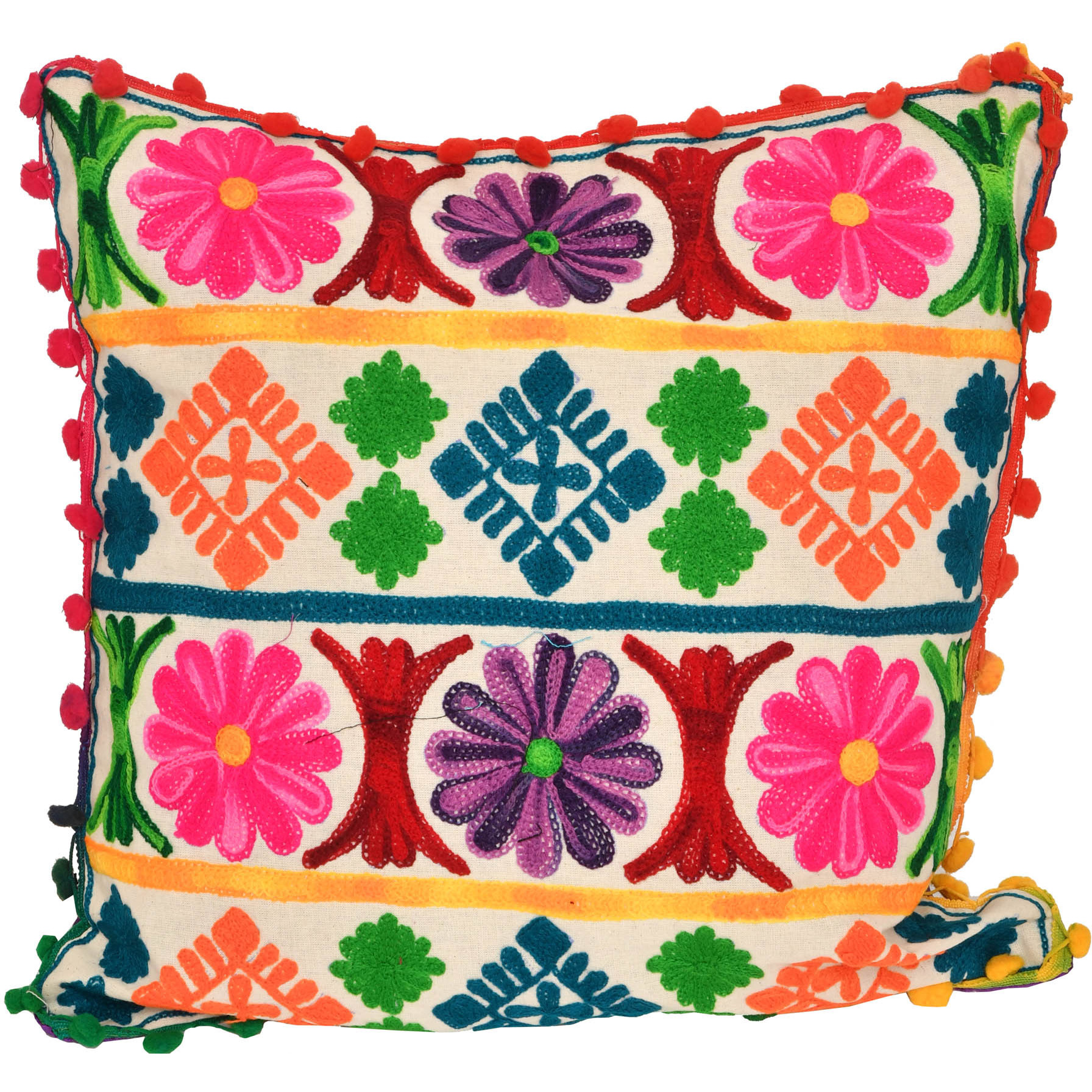 Off-White Cushion Cover with Ari-Embroidey in Multi-color Thread