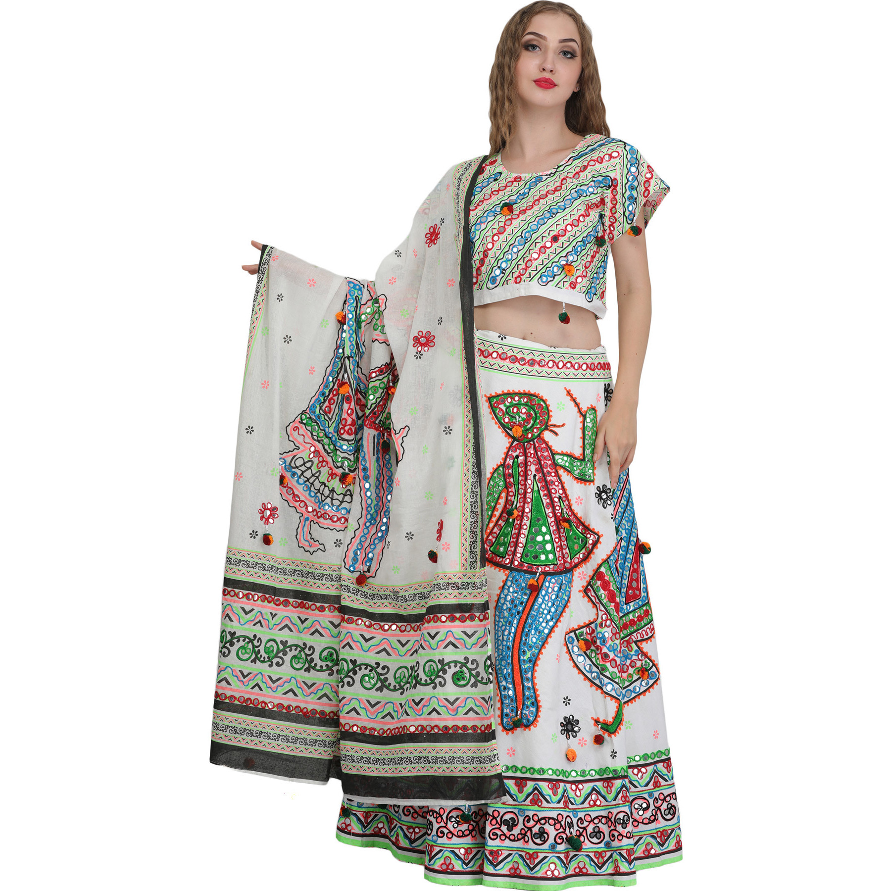 White Embroidered Lehenga Choli from Jodhpur with Large Sequins and Depicting Dandia Dance