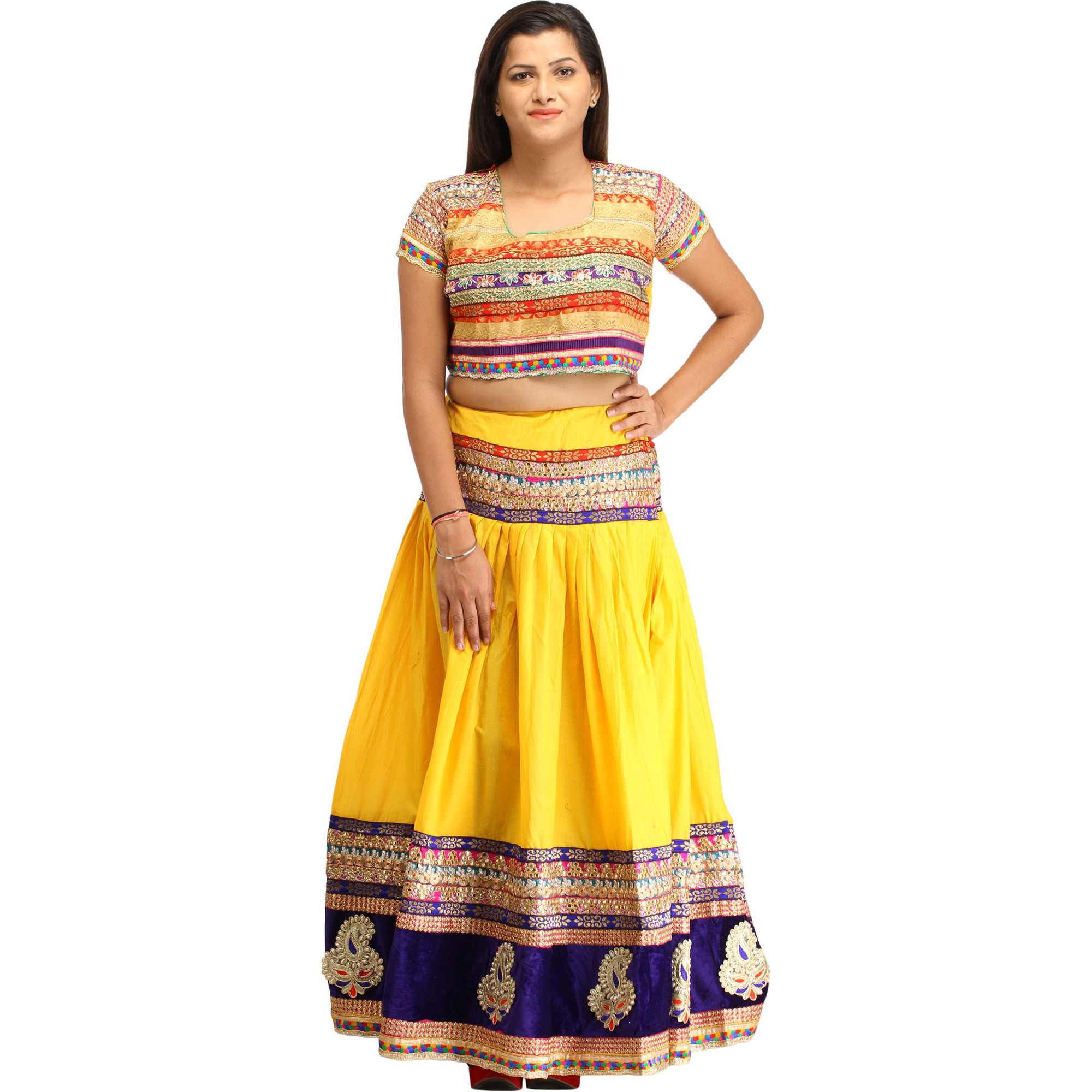Spectrum-Yellow Two-Piece Lehenga Choli with Zari-Embroidery and Paisley Patches on Border