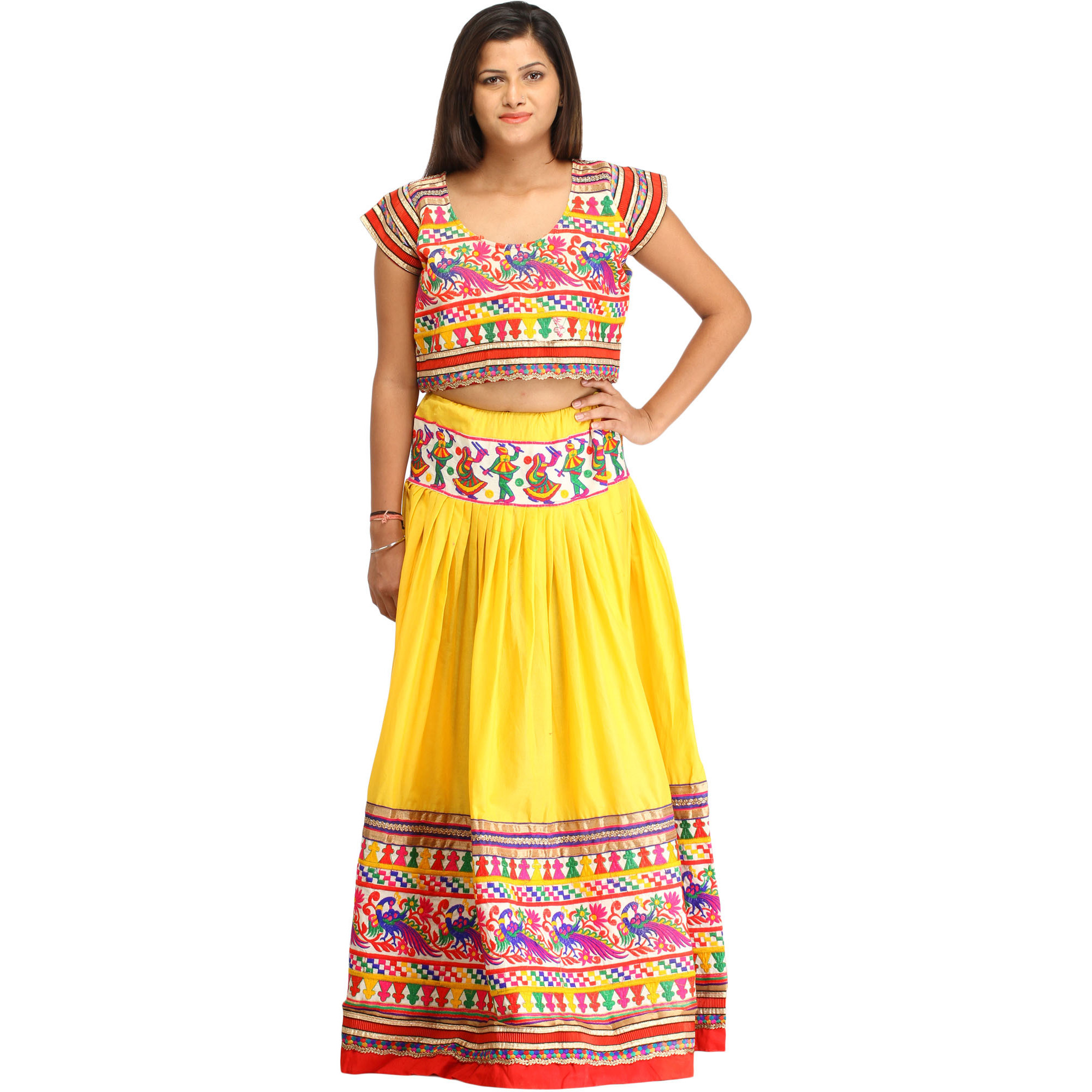 Yellow and Red Embroidered Two-Piece Lehenga Choli with Depicting Dandia Dance and Embroidered Peacocks