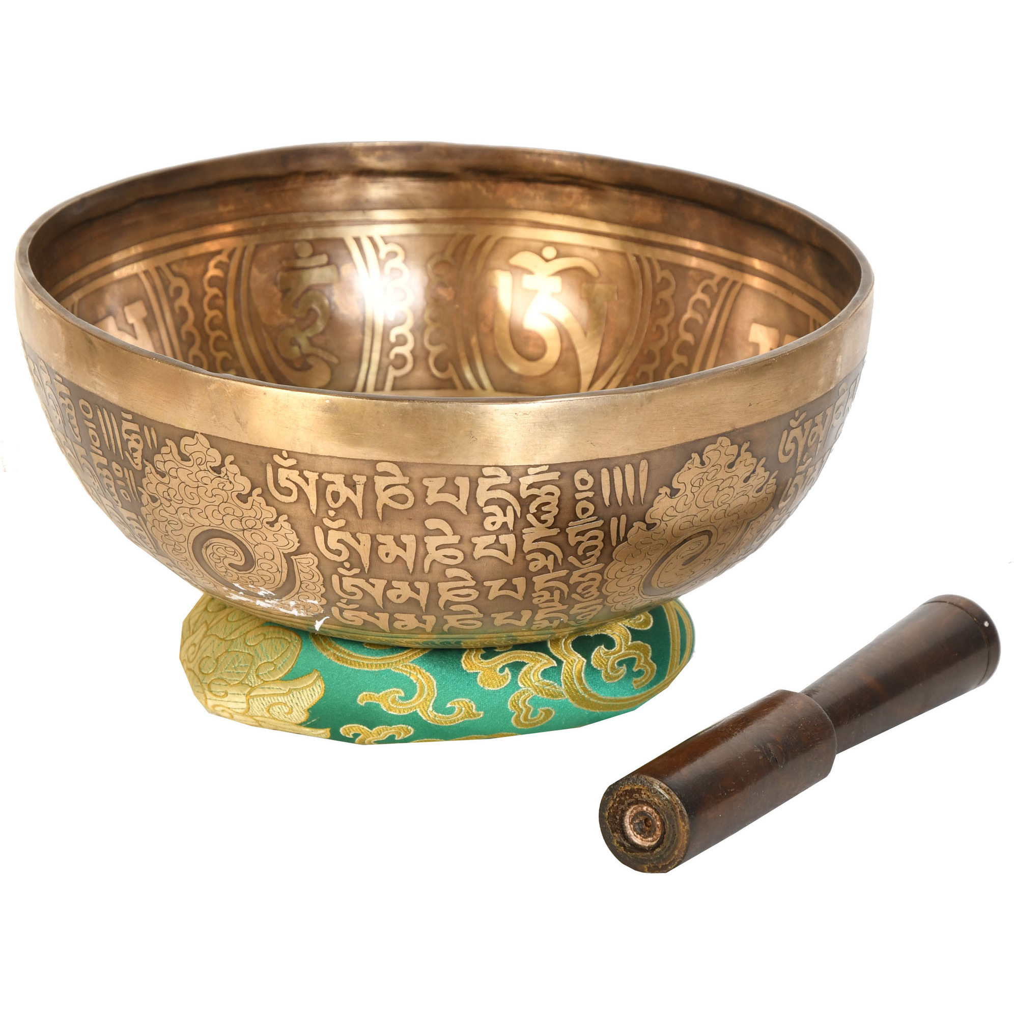 Superfine Singing Bowl with Kundalini Chakras and Auspicious Mantras Inside - Tibetan Buddhist (Made in Nepal)