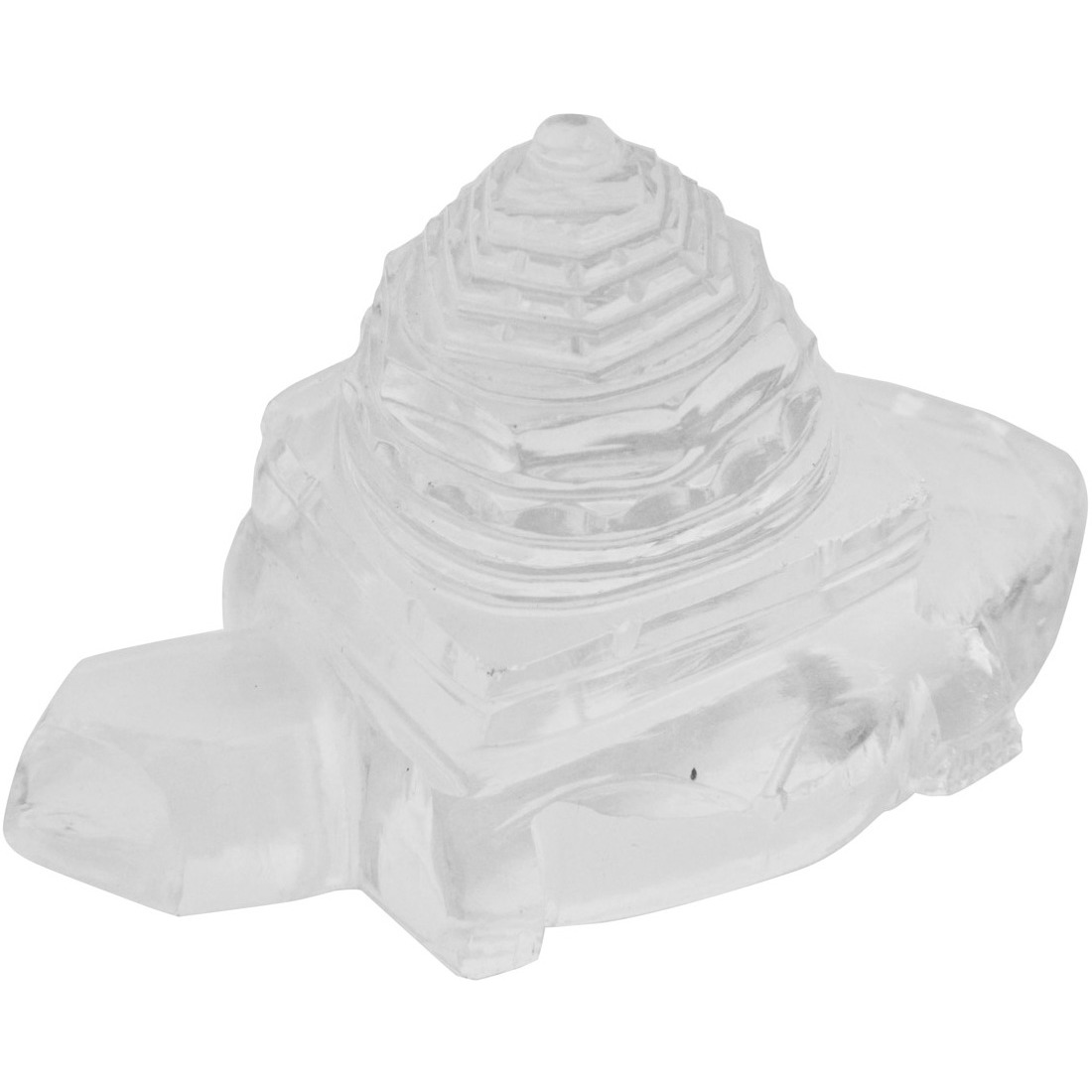 Shri Yantra on Tortoise Carved in Real Crystal