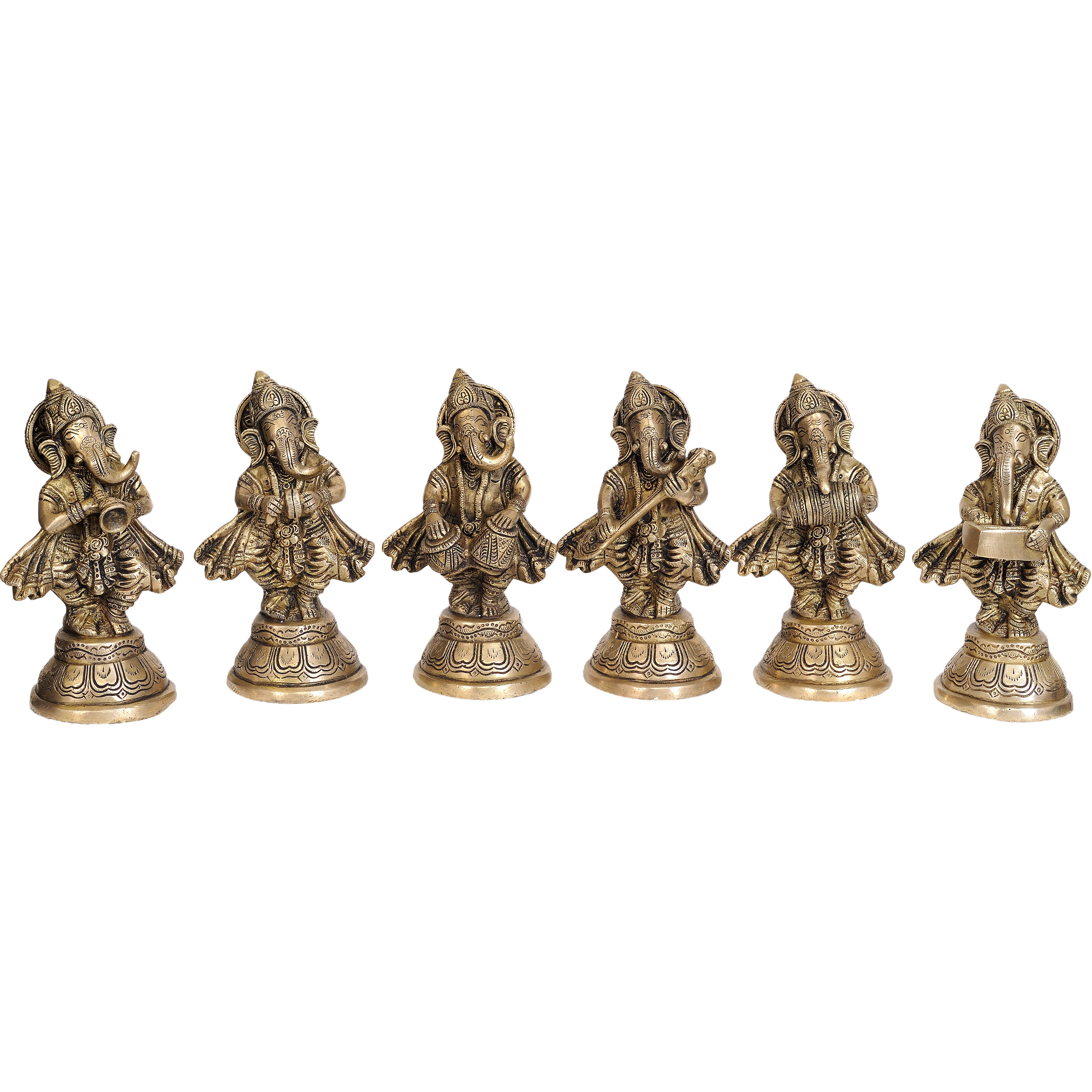 Set of Six Musical Ganeshas