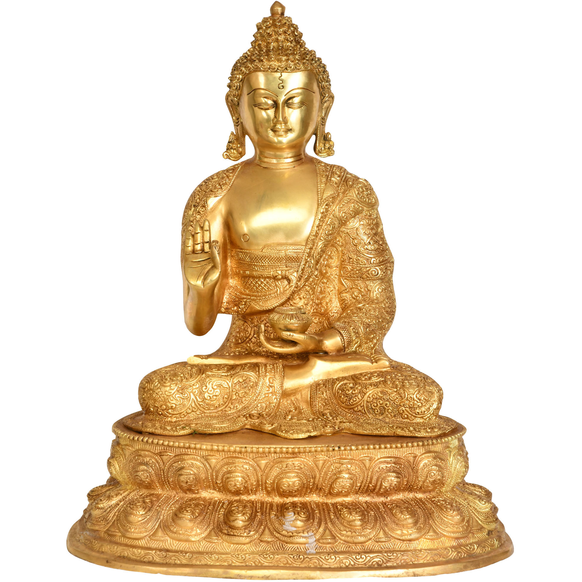 Preaching Buddha Seated On Double Lotus Pedestal with Superfine Carved Robe -Tibetan Buddhist