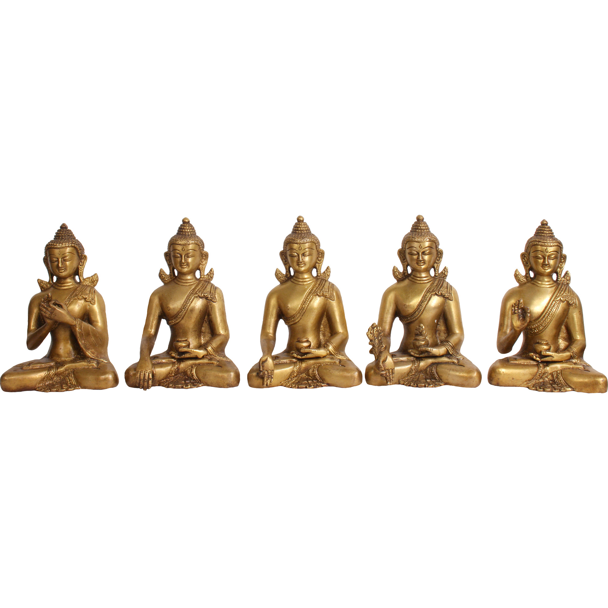 Set of Five Cosmic Buddhas (Tibetan Buddhist Deities)