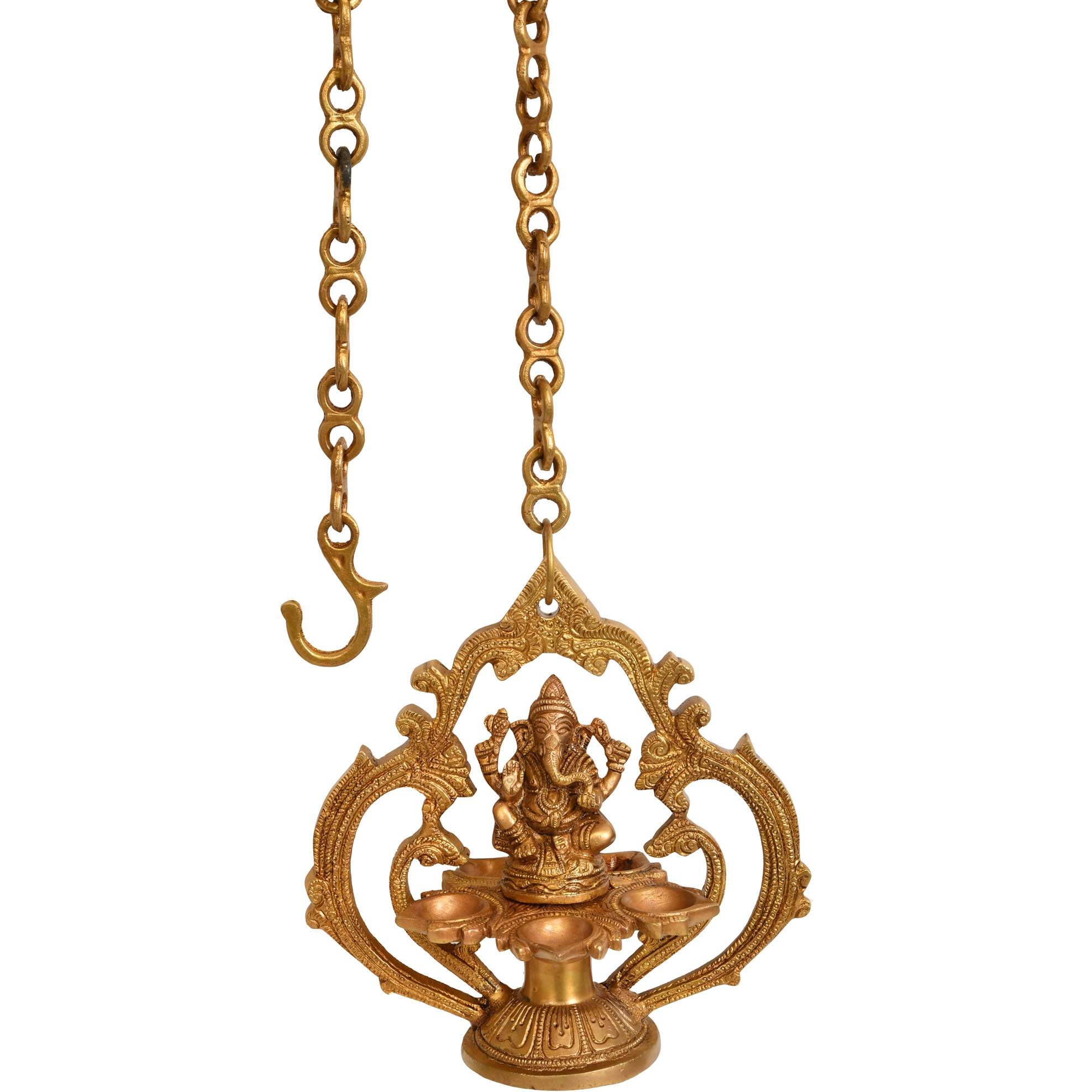 Lord Ganesha Hanging Five-wick Lamp