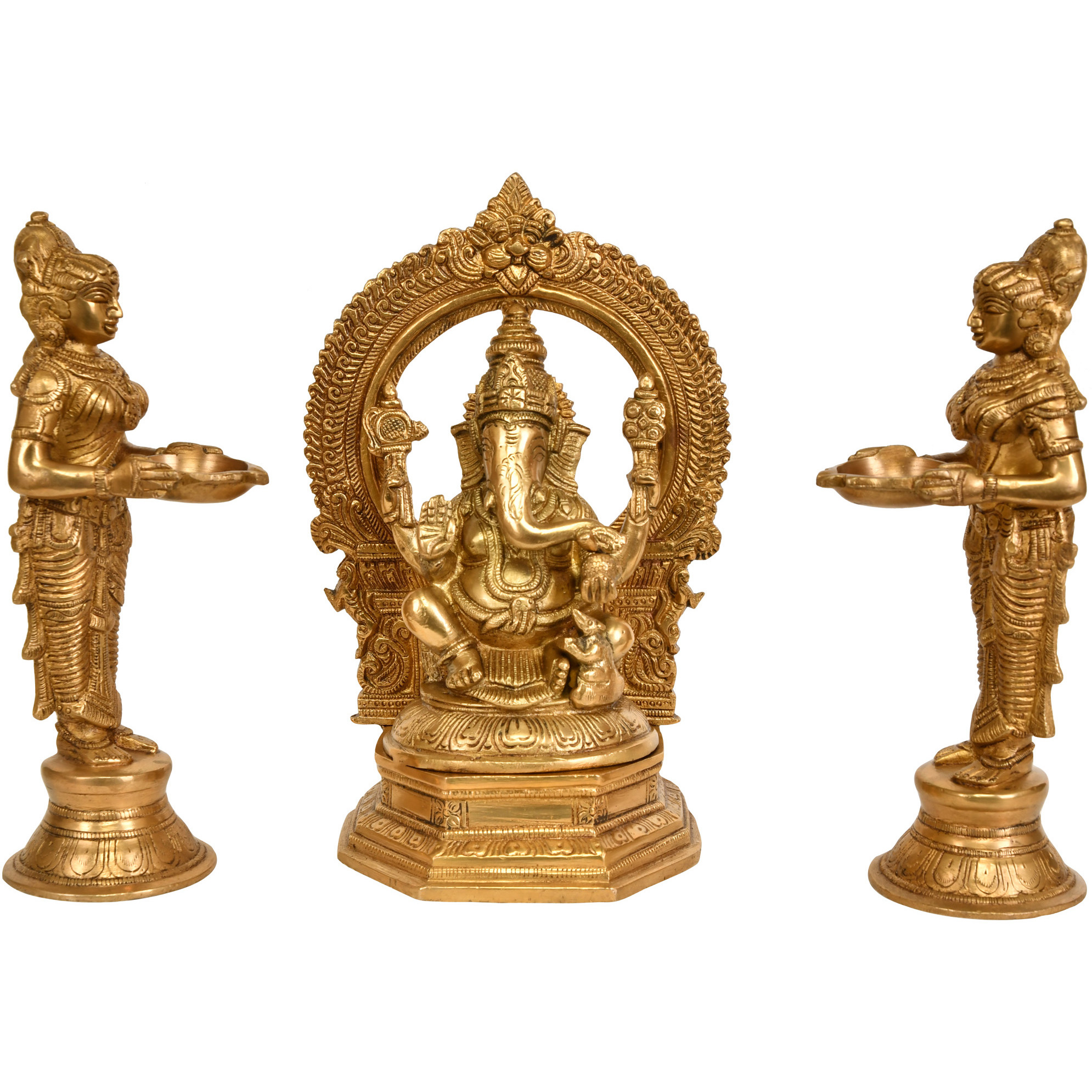 Lord Ganesha Worshipped by Lamp Goddesses (Set of Three Statues)