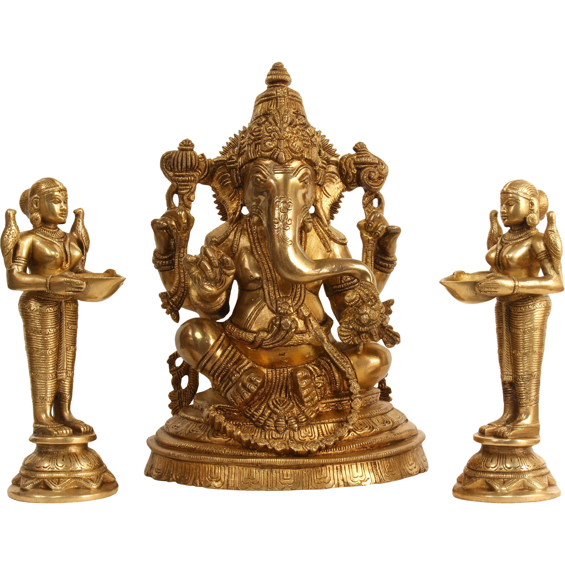 Lord Ganesha with Deeplakshmi Pair (Set of Three Statues)