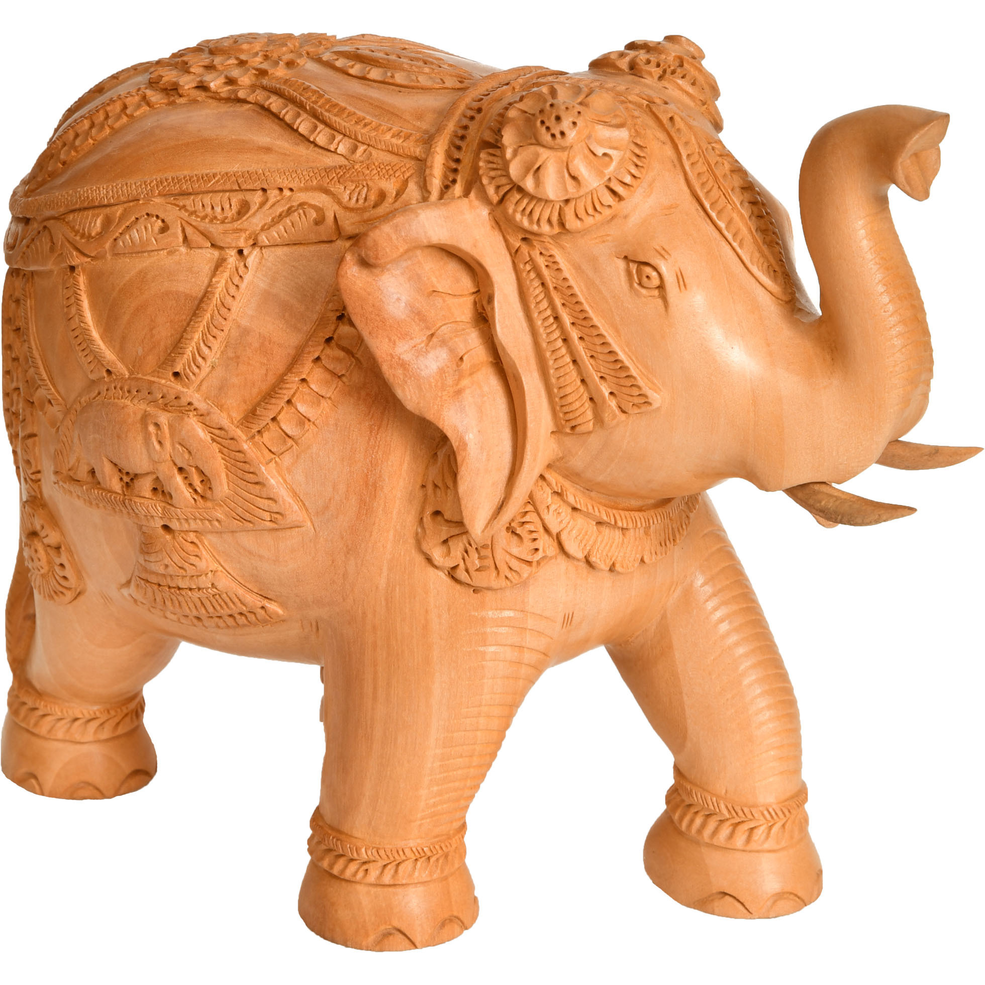 Wooden Decorated Elephant with Upraised Trunk