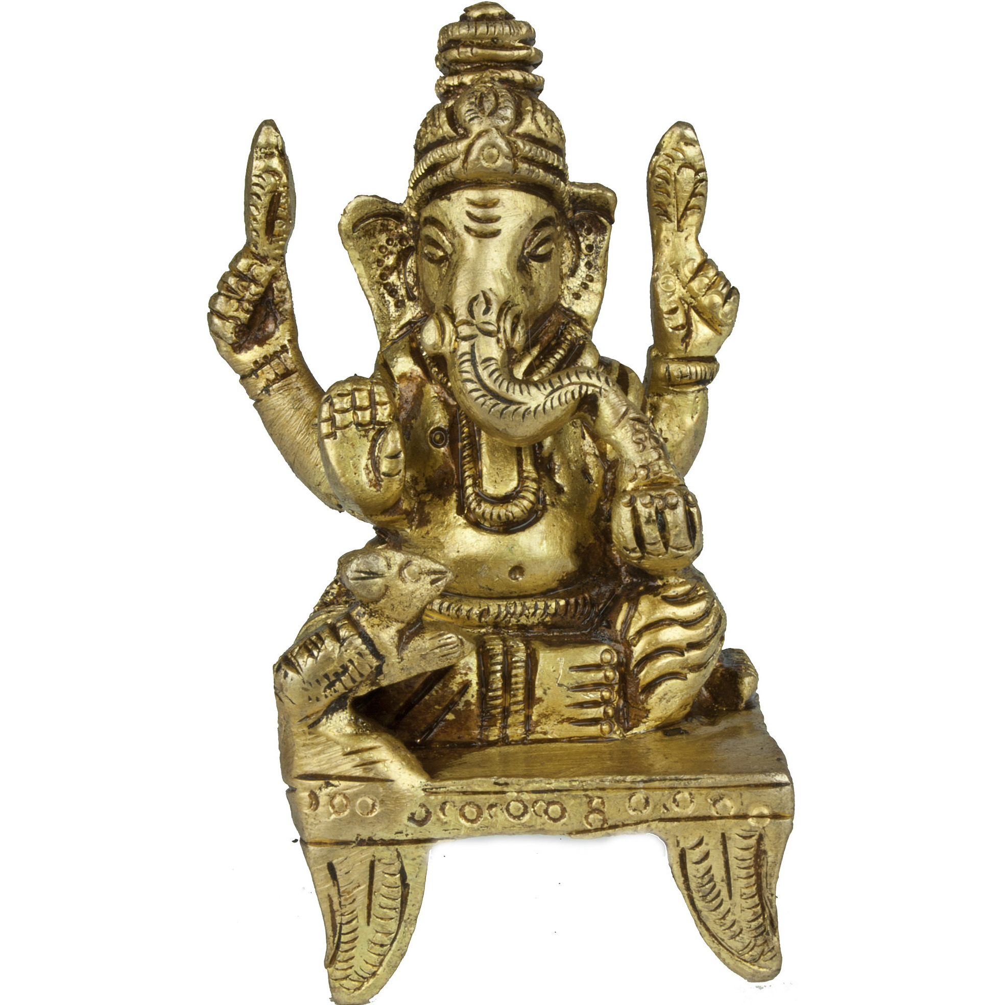 Lord Ganesha Seated on Chowki (Small Sculpture)