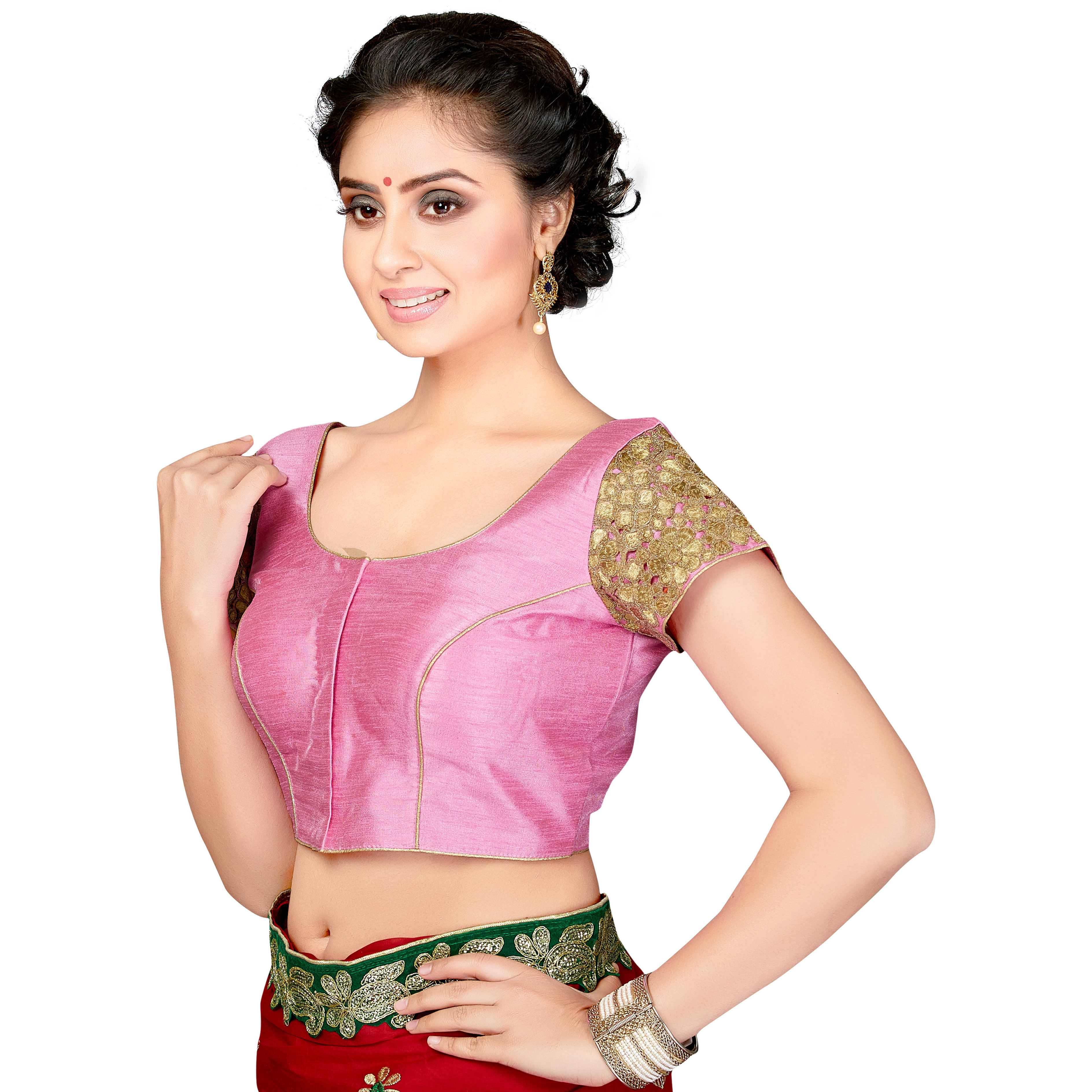 TrendyFashionMall Readymade Silk Blouse with Gold Patch work BabyPink (Size:40 - MEDIUM)