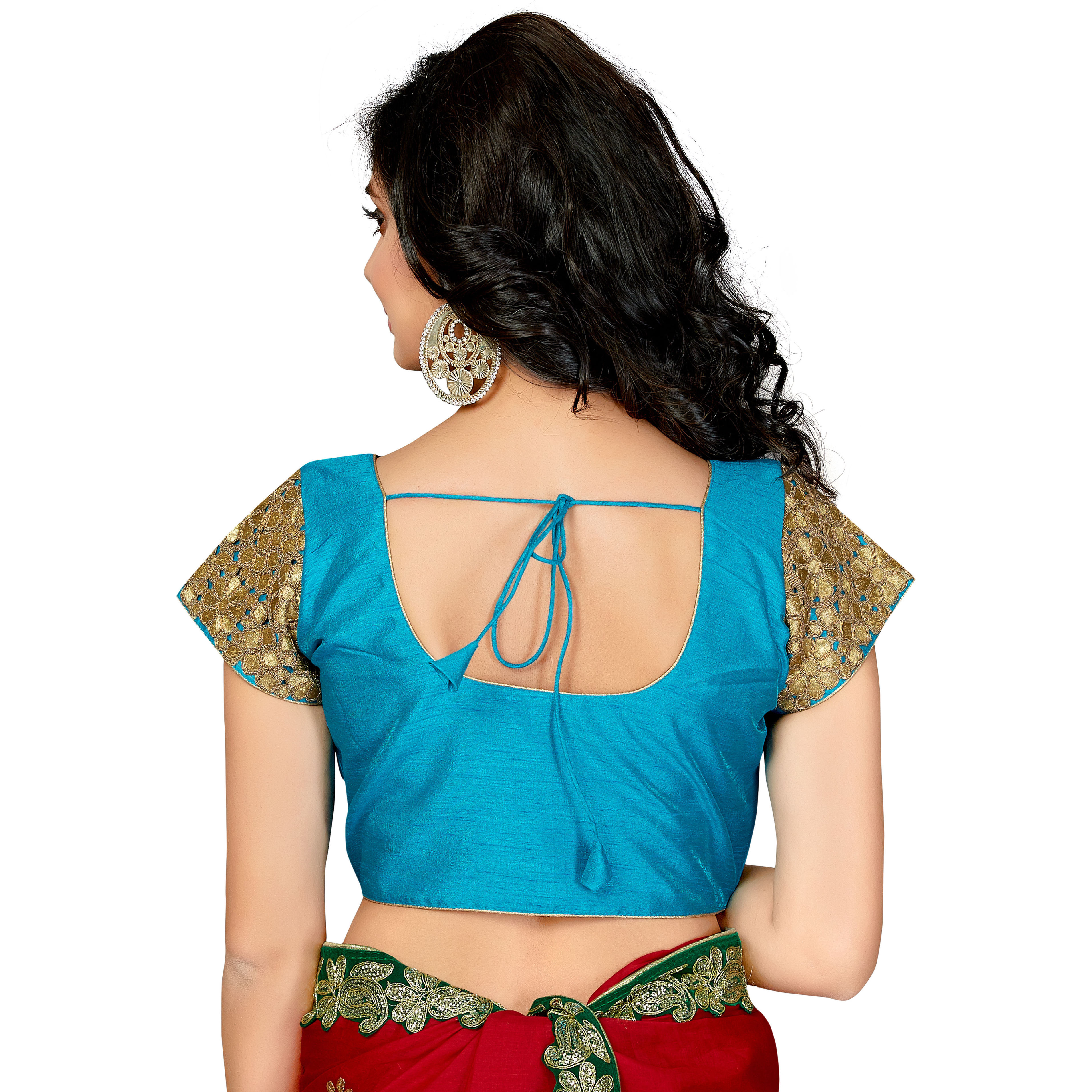 TrendyFashionMall Readymade Silk Blouse with Gold Patch work Cyan (Size:42 - LARGE)