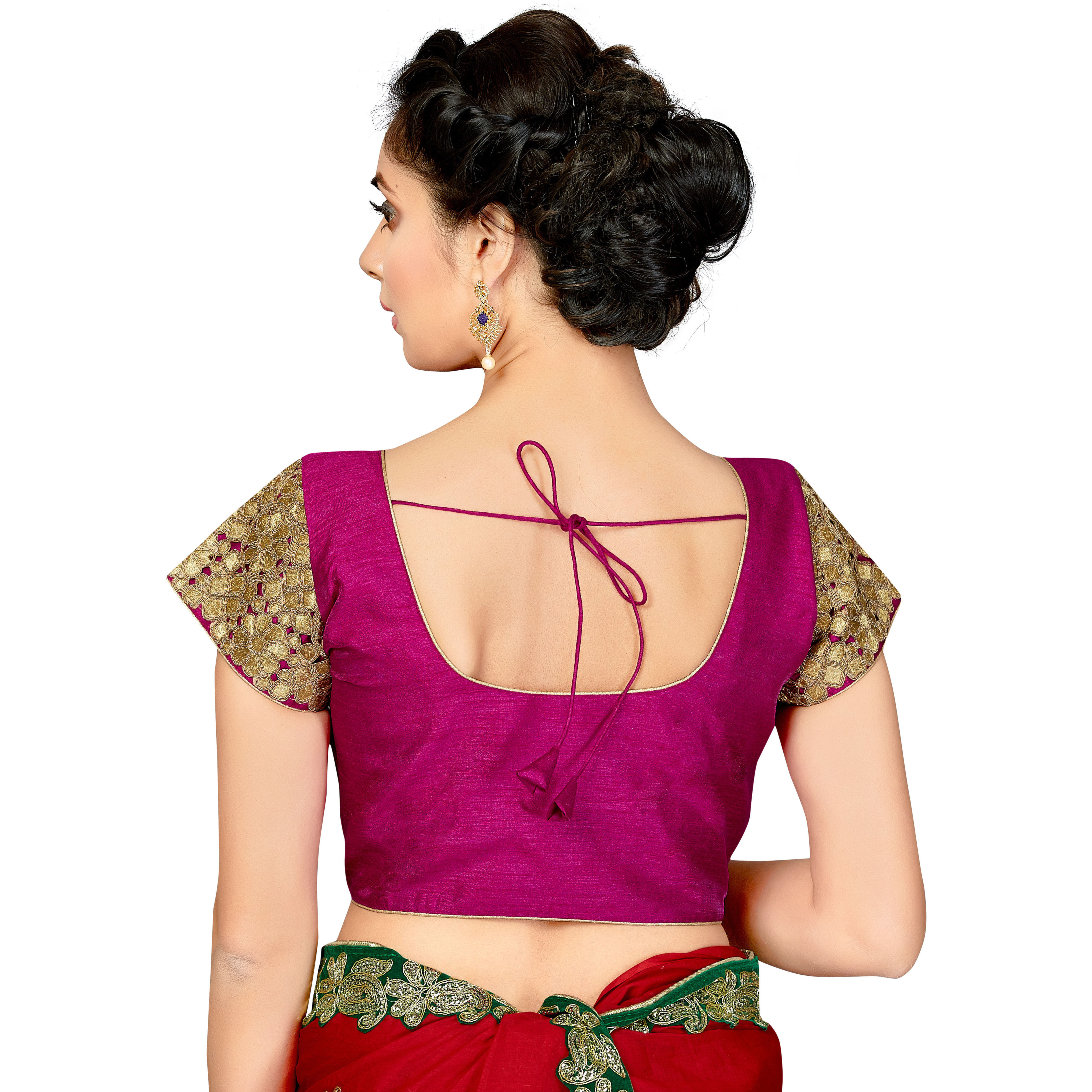 TrendyFashionMall Readymade Silk Blouse with Gold Patch work Magenta (Size:38 - SMALL)