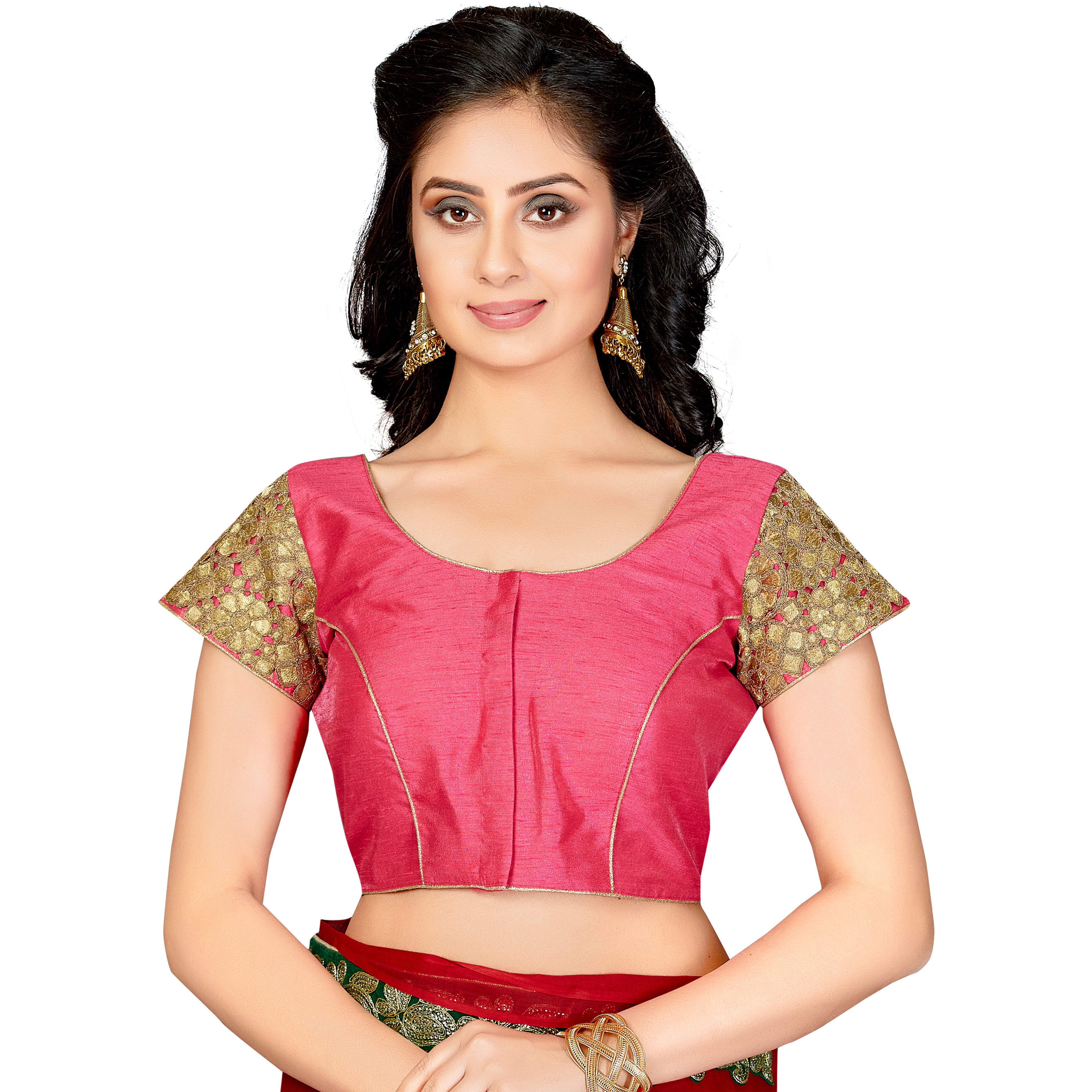 TrendyFashionMall Readymade Silk Blouse with Gold Patch work Pink (Size:44 - X-LARGE)