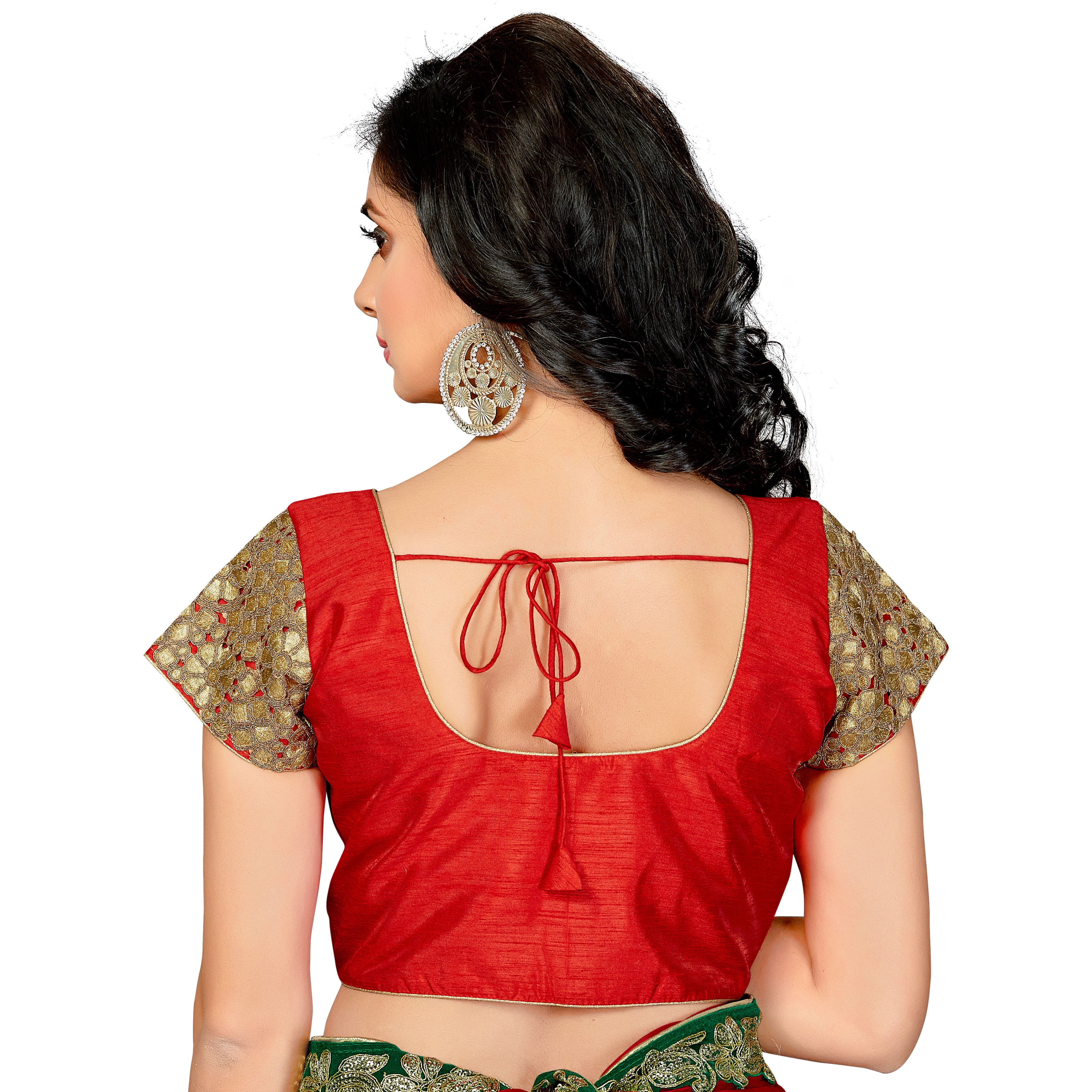 TrendyFashionMall Readymade Silk Blouse with Gold Patch work Red (Size:38 - SMALL)