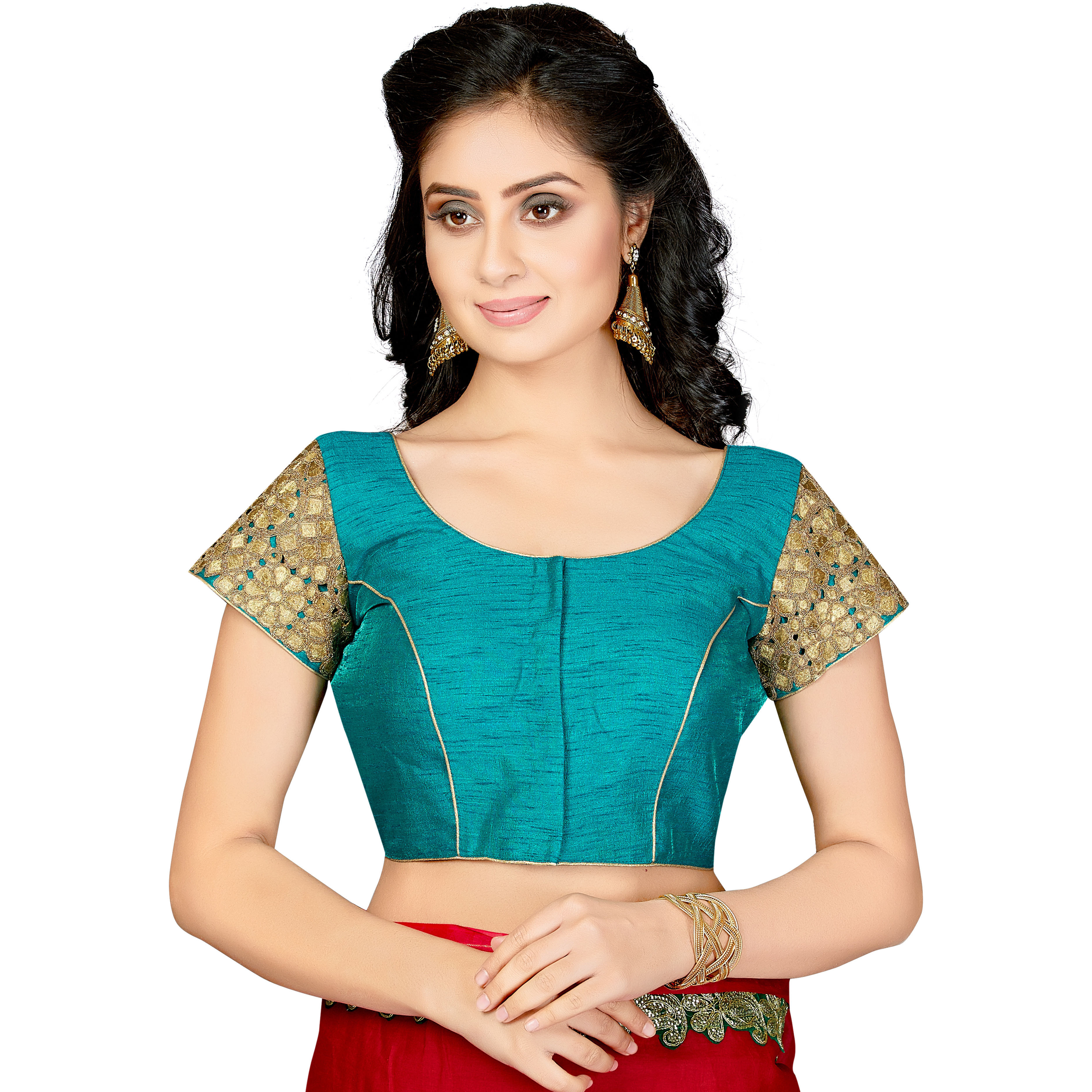 TrendyFashionMall Readymade Silk Blouse with Gold Patch work Turquoise (Size:44 - X-LARGE)
