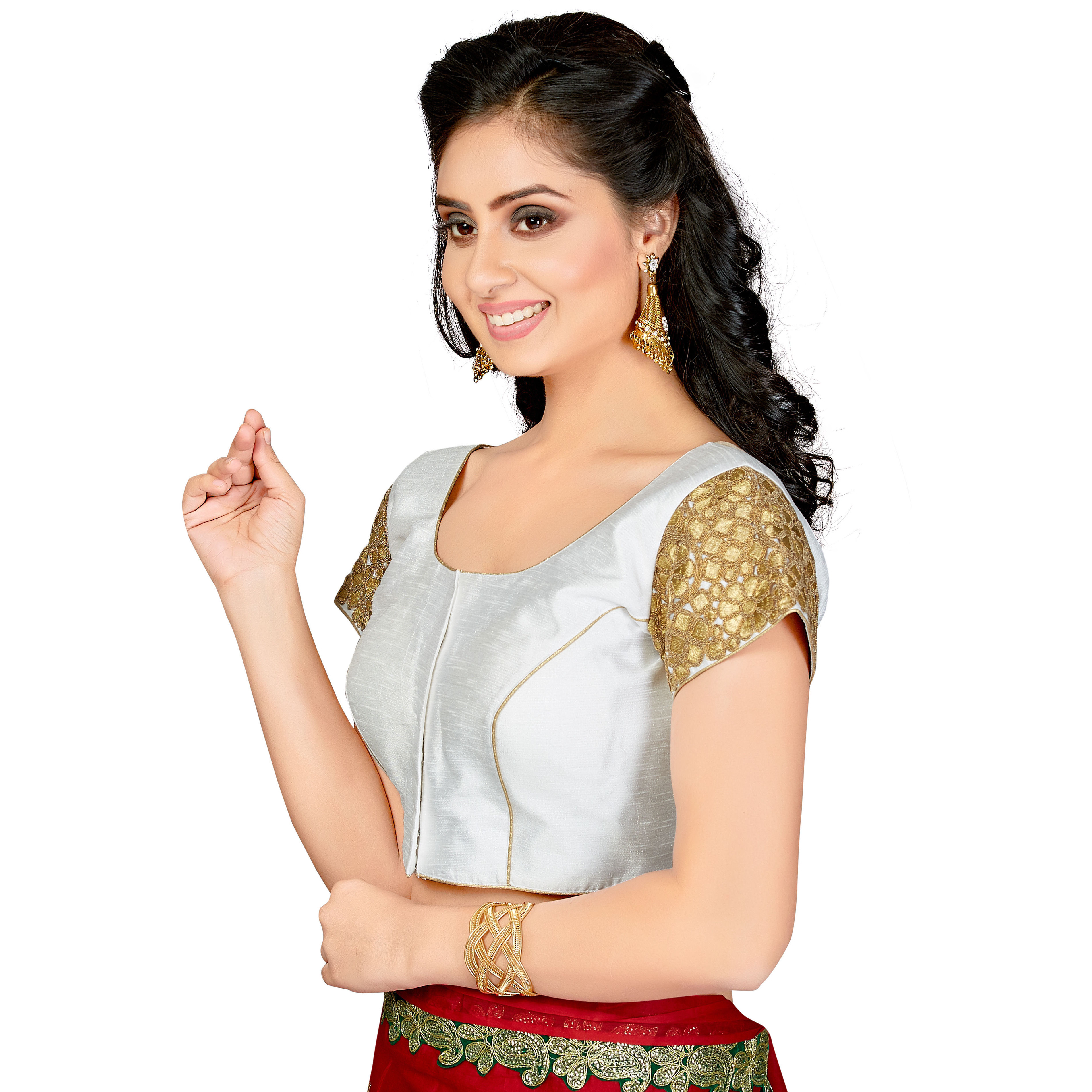 TrendyFashionMall Readymade Silk Blouse with Gold Patch work White (Size:38 - SMALL)