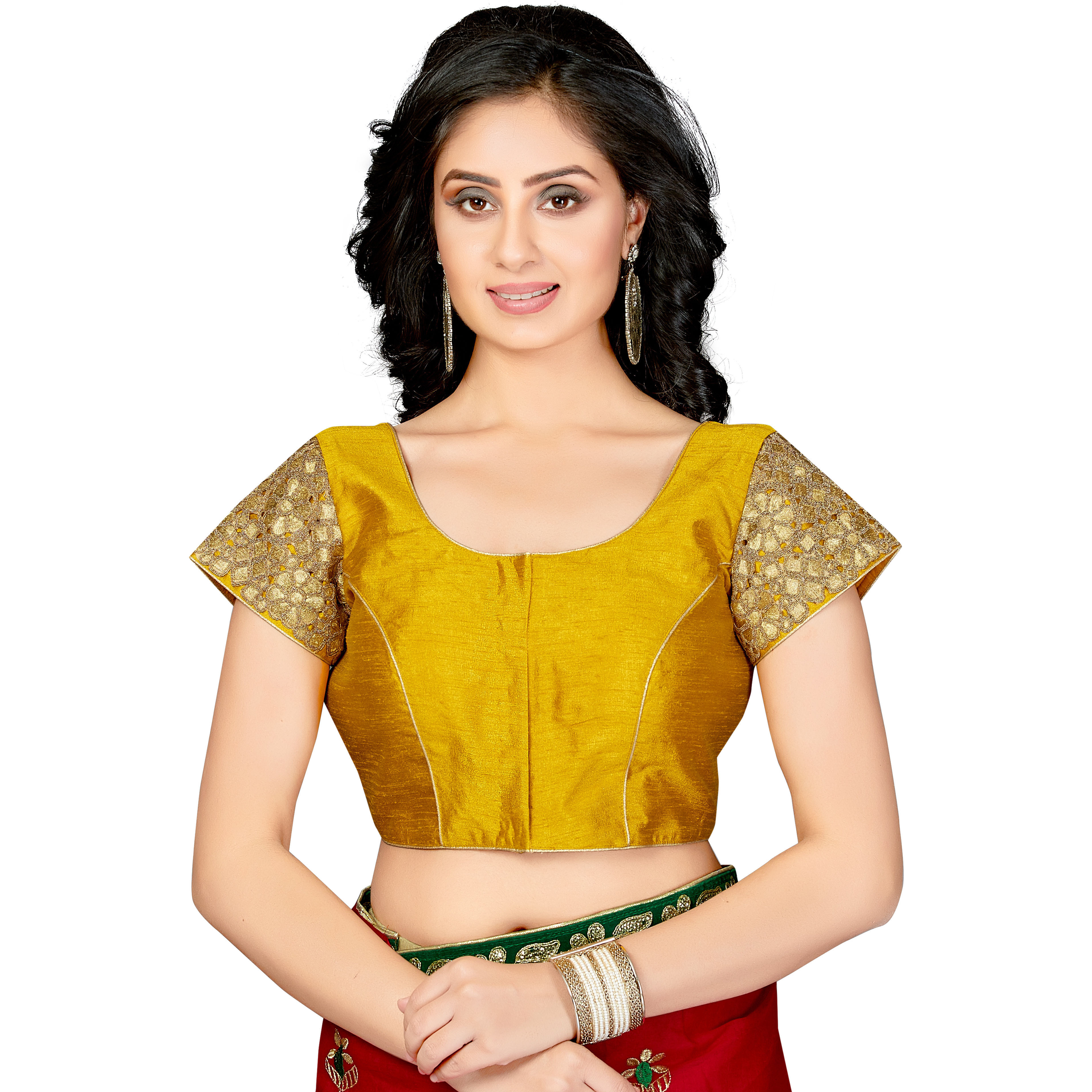TrendyFashionMall Readymade Silk Blouse with Gold Patch work Yellow (Size:40 - MEDIUM)