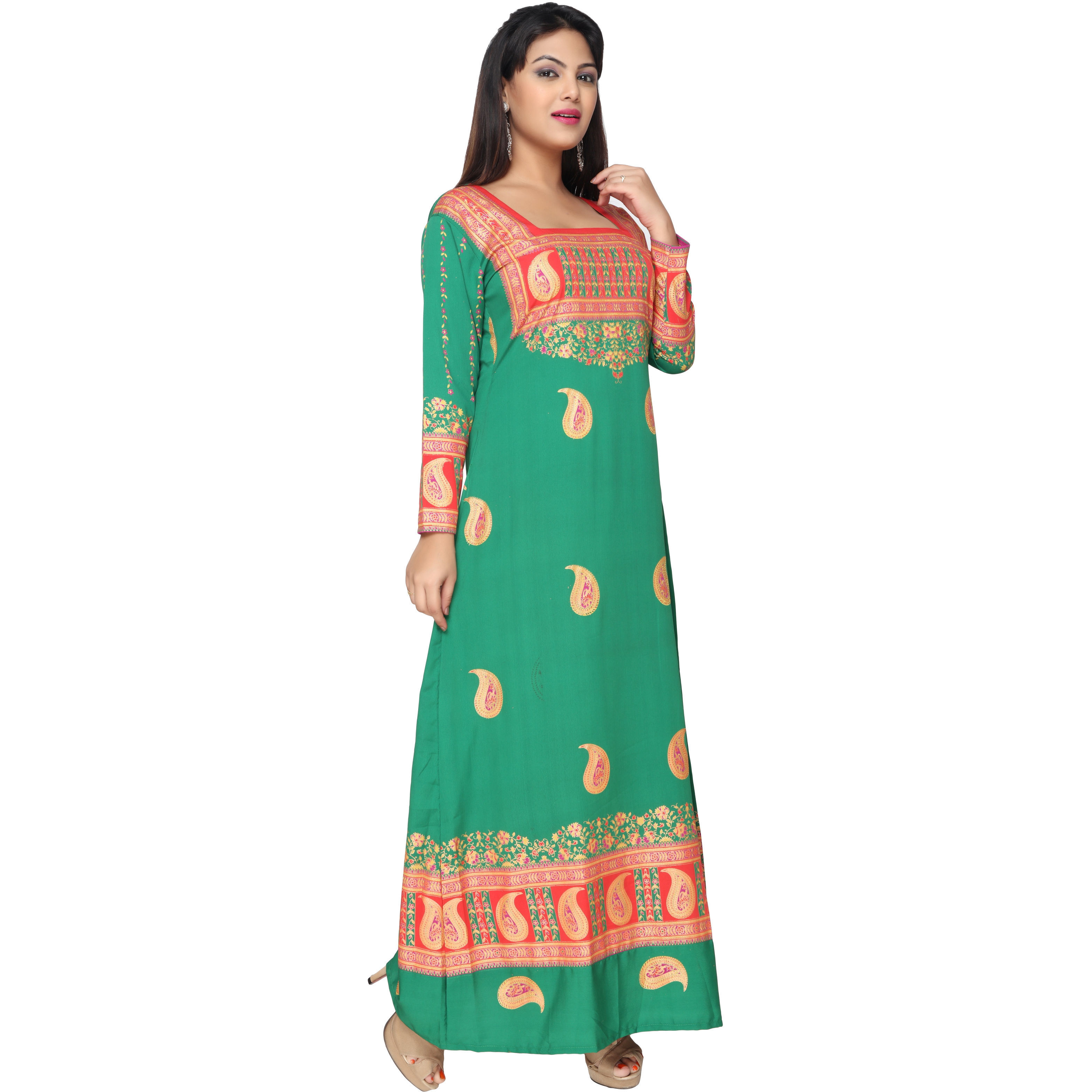 TrendyFashionMall Green Gold Print Kaftan Abaya Maxi Dress KFT01014 S-38 (Size:44 - X-LARGE, Color:TFMKFT01014-GREEN)