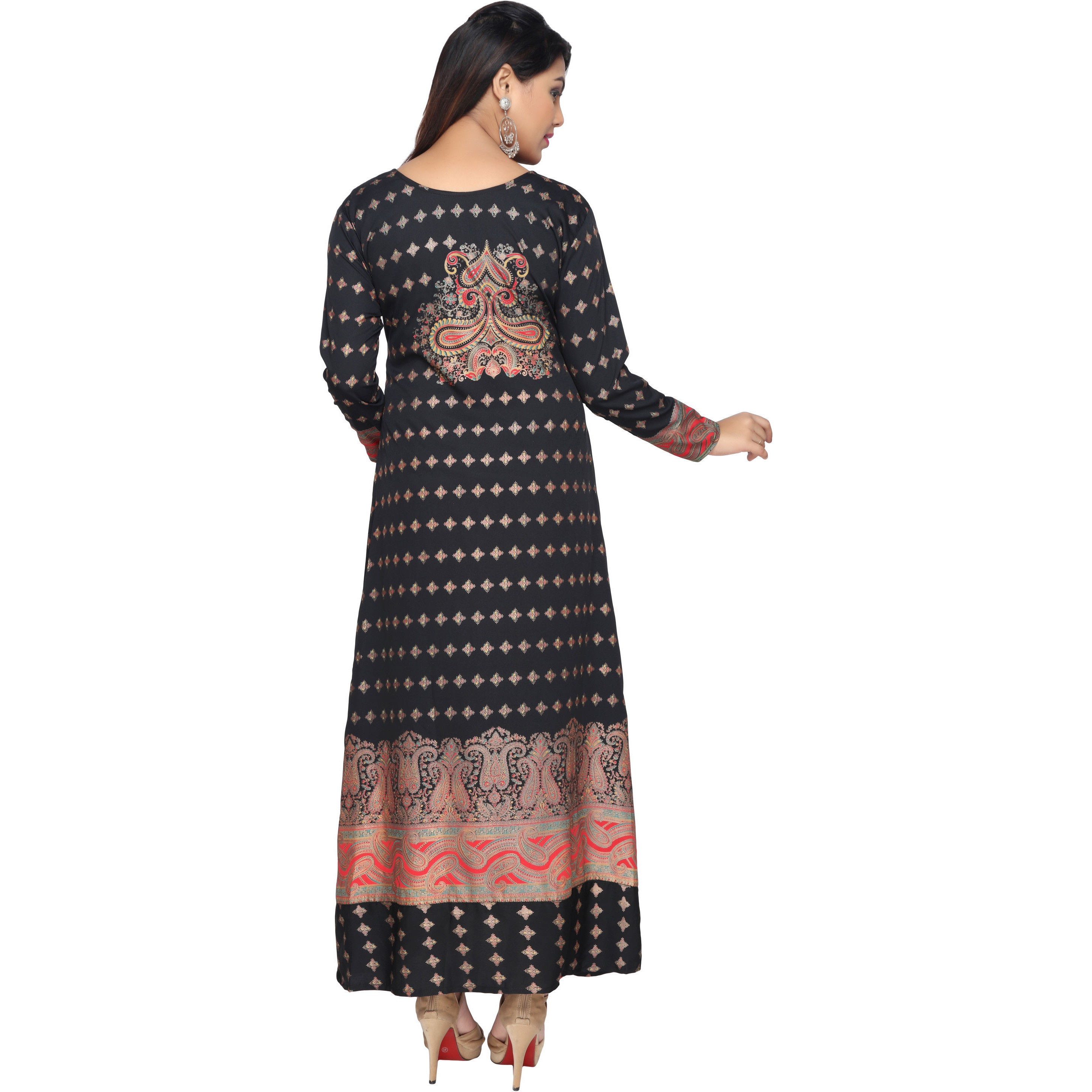 TrendyFashionMall Black Gold Print Kaftan Abaya Maxi Dress KFT01021 S-38 (Size:42 - LARGE, Color:TFMKFT01021-BLACK)