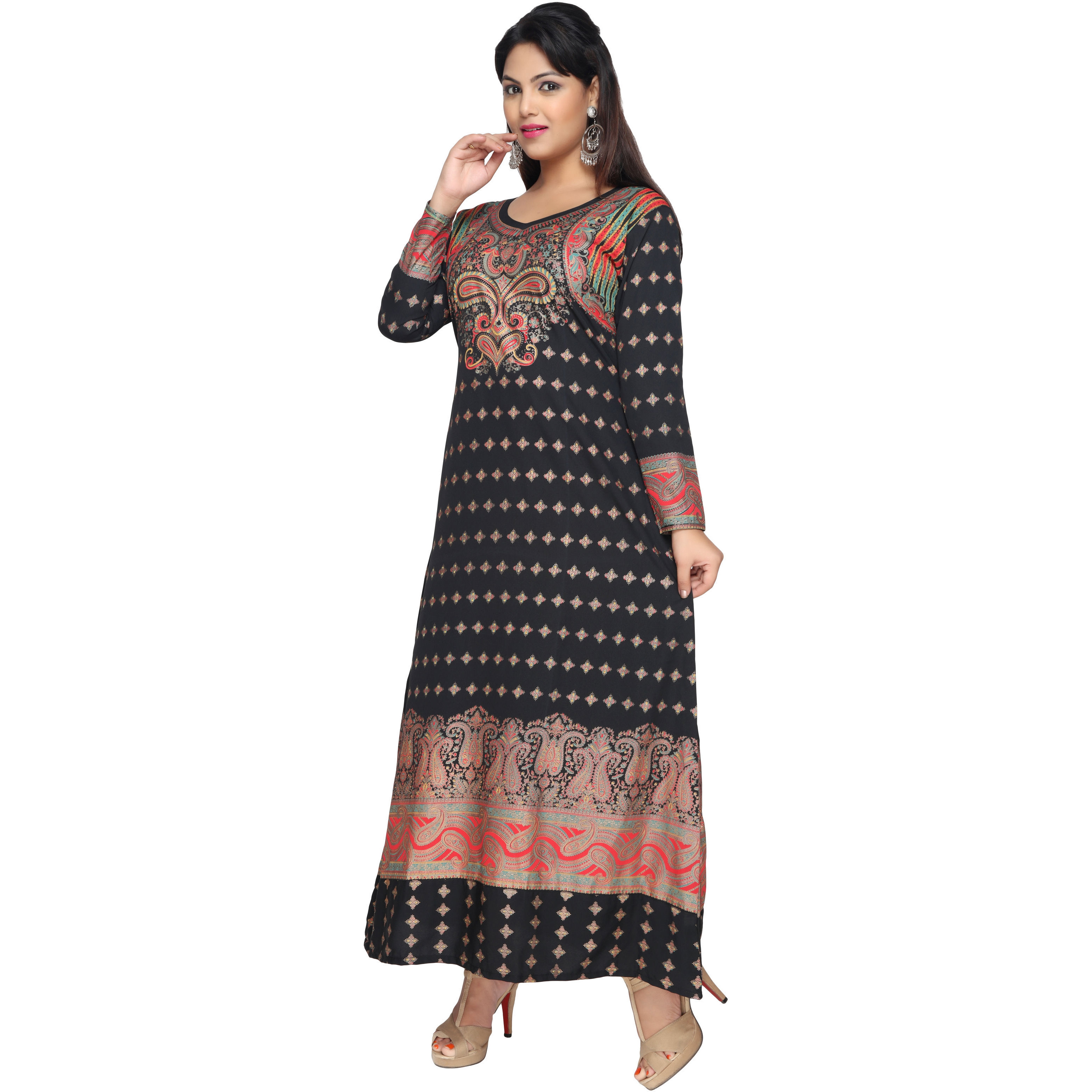 TrendyFashionMall Black Gold Print Kaftan Abaya Maxi Dress KFT01021 S-38 (Size:52 - 5X-LARGE, Color:TFMKFT01021-BLACK)