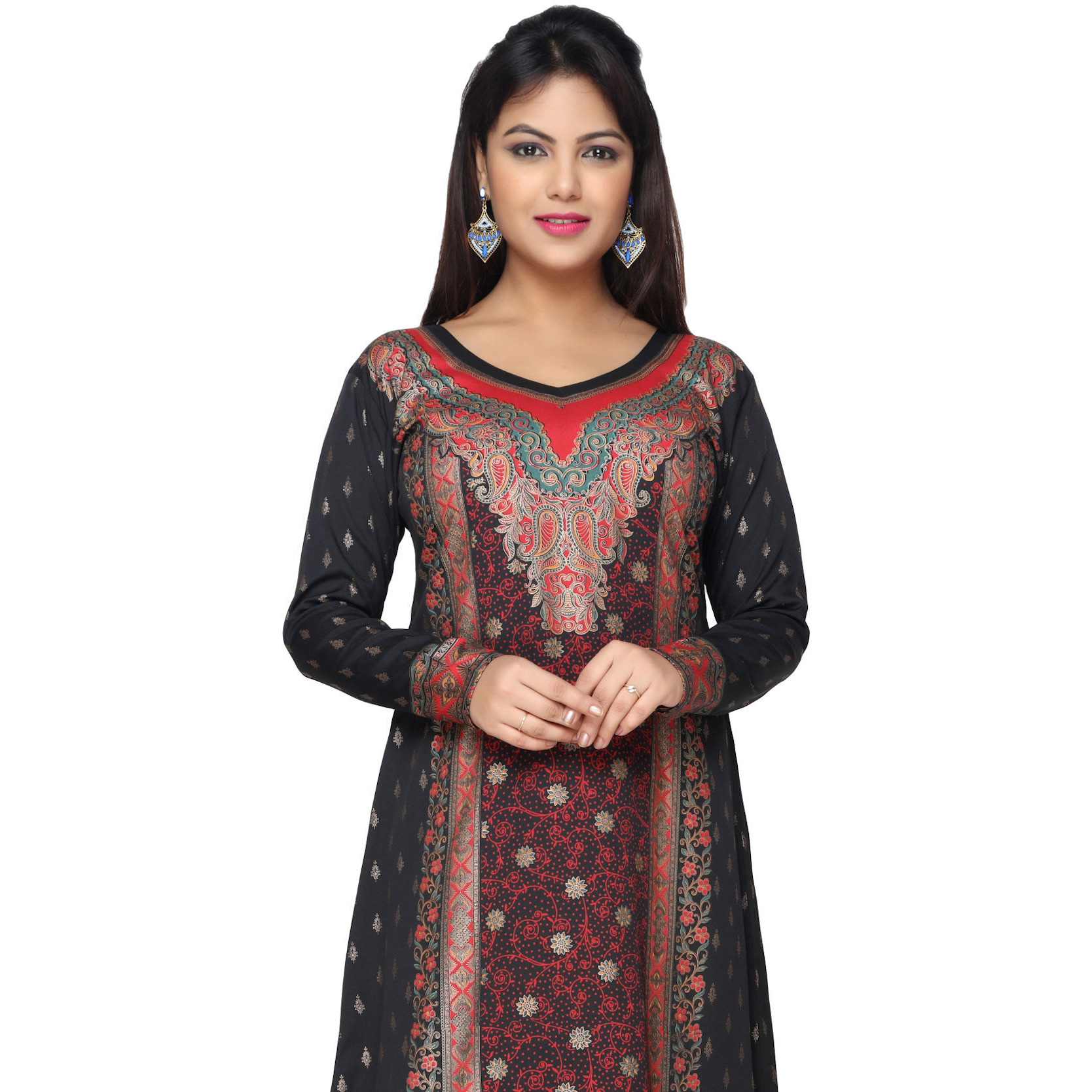 TrendyFashionMall Black-Red Gold Print Kaftan Abaya Maxi Dress KFT01031 S-38 (Size:38 - SMALL, Color:TFMKFT01031-BLACK-RED)
