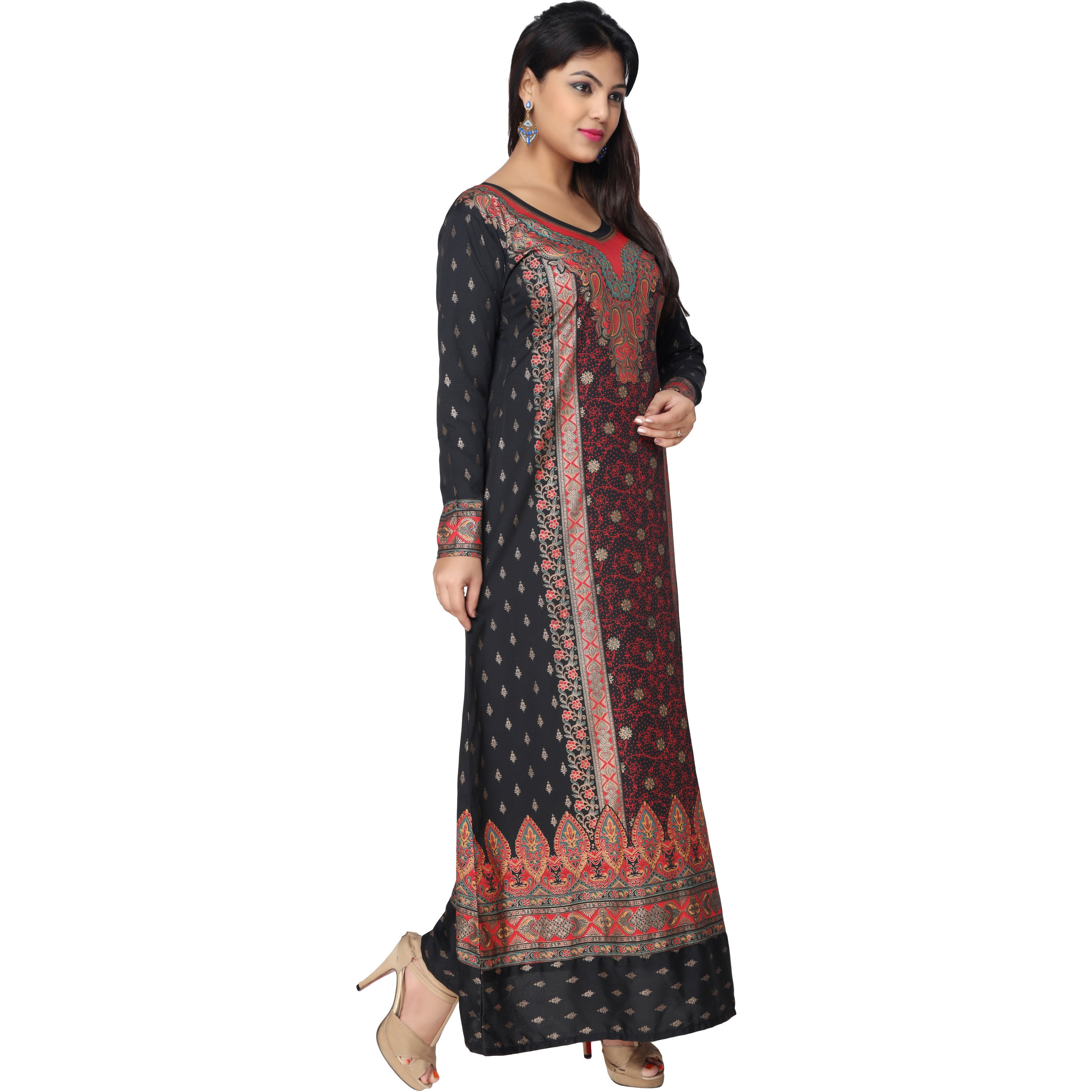 TrendyFashionMall Black-Red Gold Print Kaftan Abaya Maxi Dress KFT01031 S-38 (Size:42 - LARGE, Color:TFMKFT01031-BLACK-RED)