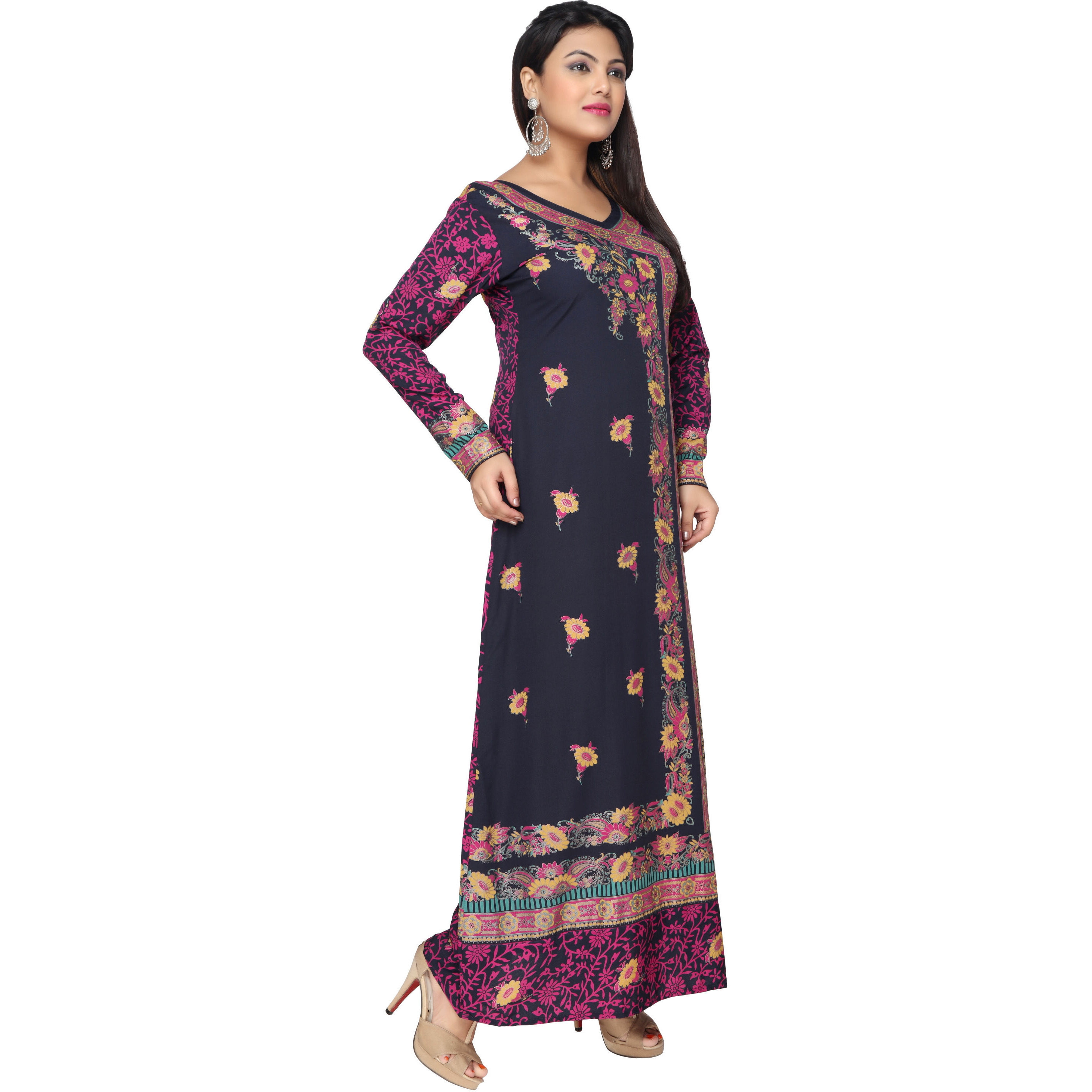 TrendyFashionMall BlueMulti Gold Print Kaftan Abaya Maxi Dress KFT01042 S-38 (Size:44 - X-LARGE, Color:TFMKFT01042-BLUEMULTI)