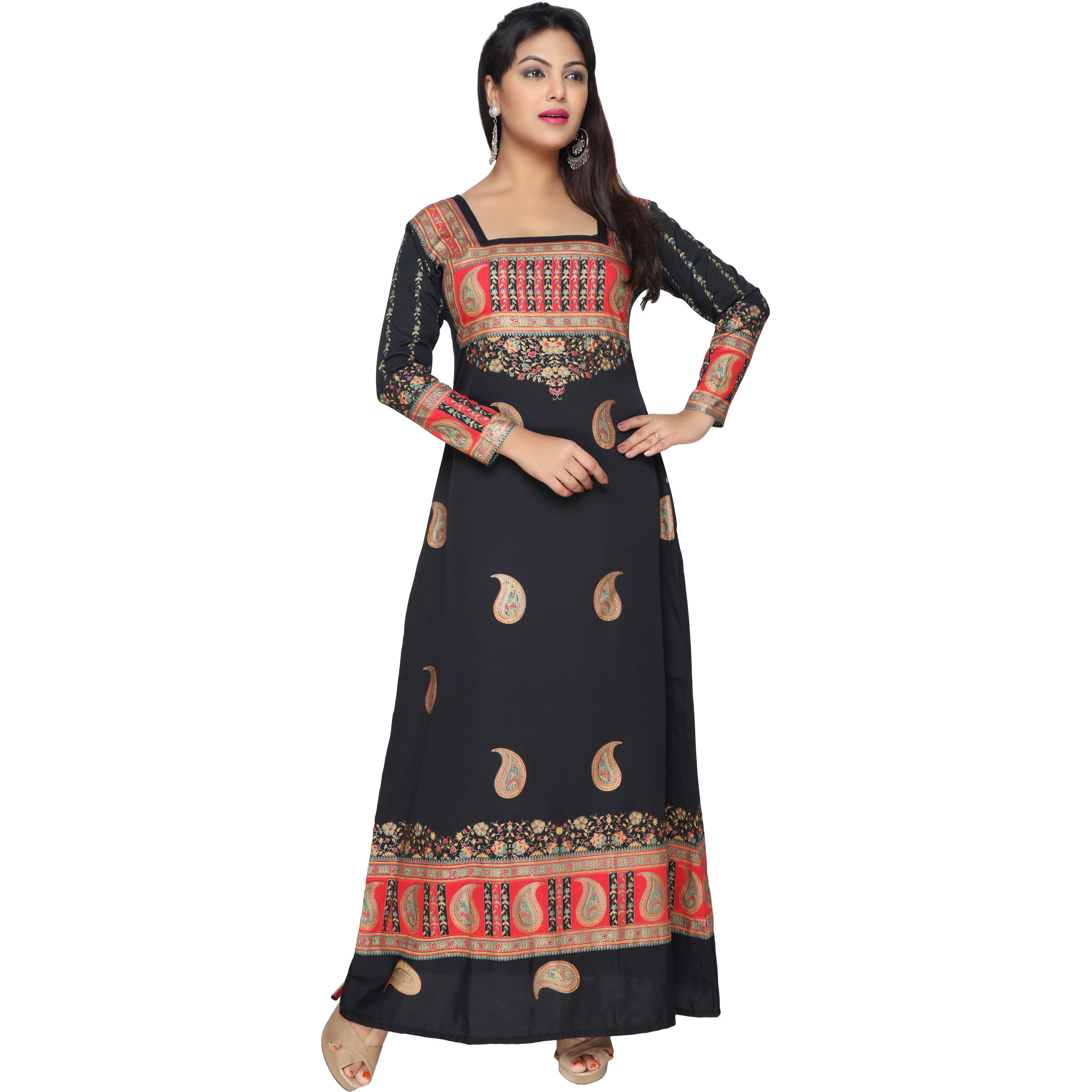 TrendyFashionMall Gold Print Kaftans Maxi Dresses with design in Front and Back (Color:TFMKFT01011-BLACK, Size:44 - X-LARGE)