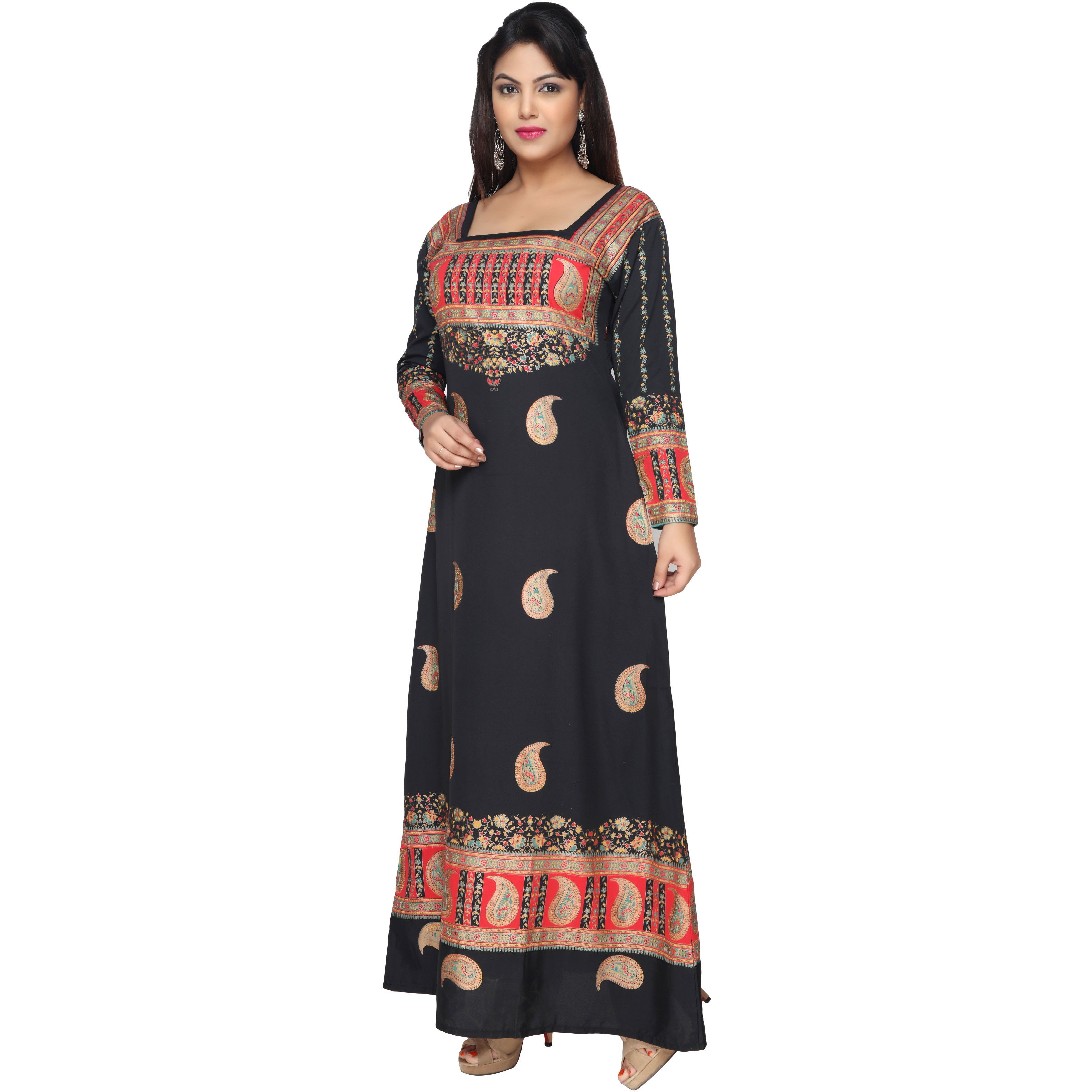 TrendyFashionMall Gold Print Kaftans Maxi Dresses with design in Front and Back (Color:TFMKFT01011-BLACK, Size:52 - 5X-LARGE)