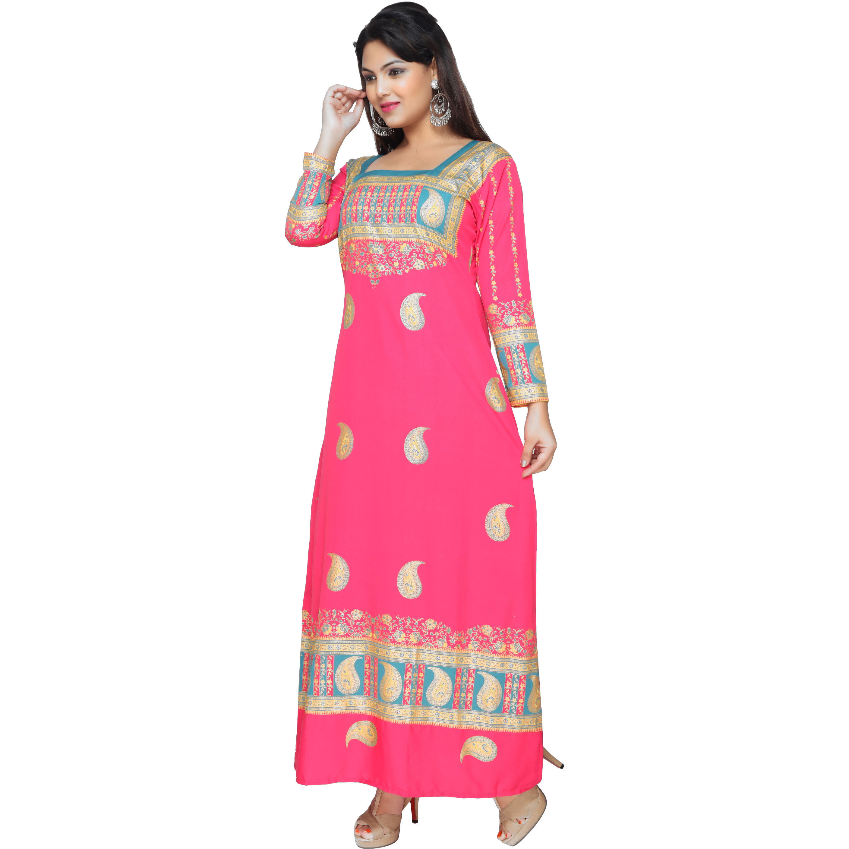 TrendyFashionMall Gold Print Kaftans Maxi Dresses with design in Front and Back (Color:TFMKFT01012-PINK, Size:40 - MEDIUM)