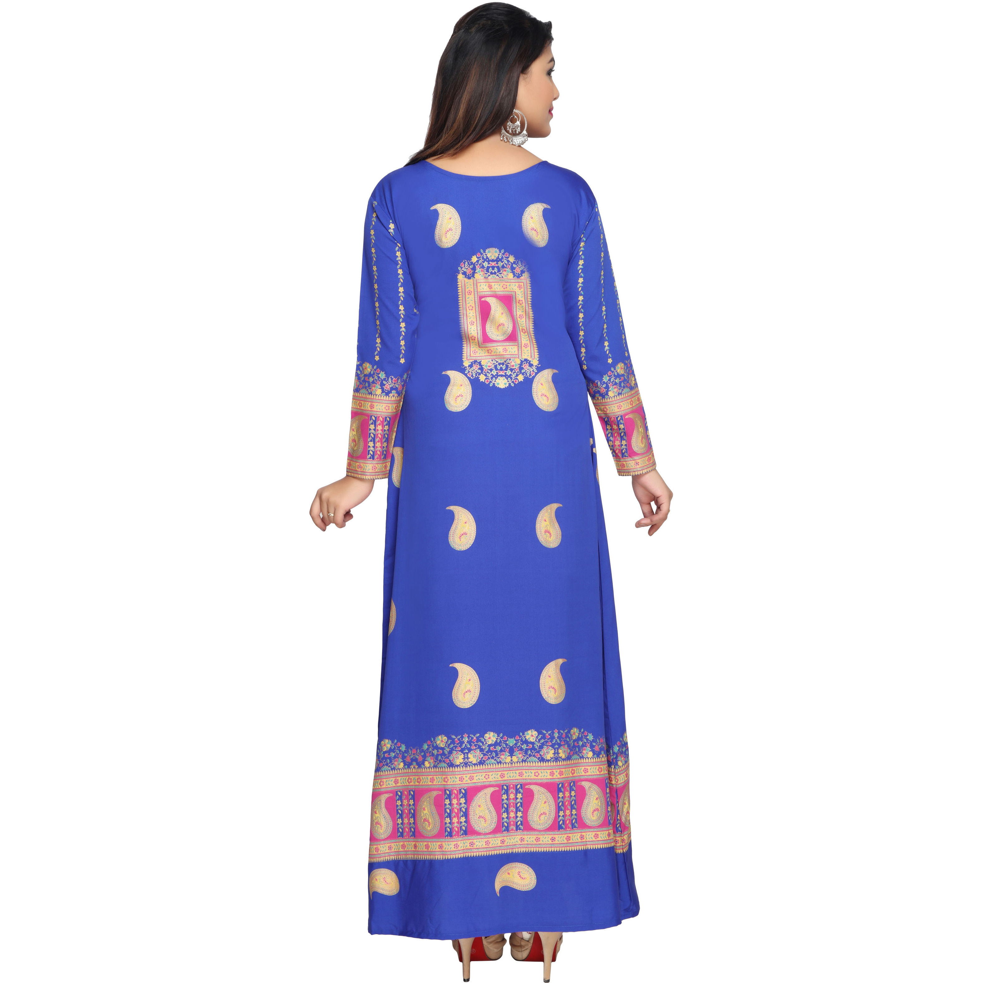 TrendyFashionMall Gold Print Kaftans Maxi Dresses with design in Front and Back (Color:TFMKFT01013-BLUE, Size:52 - 6X-PLUS)