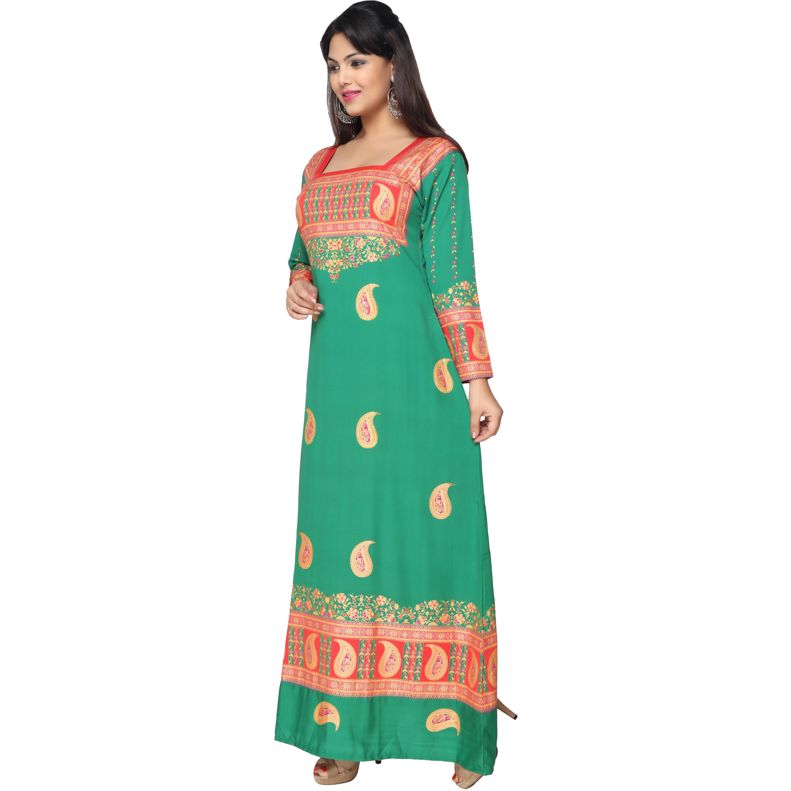 TrendyFashionMall Gold Print Kaftans Maxi Dresses with design in Front and Back (Color:TFMKFT01014-GREEN, Size:44 - X-LARGE)