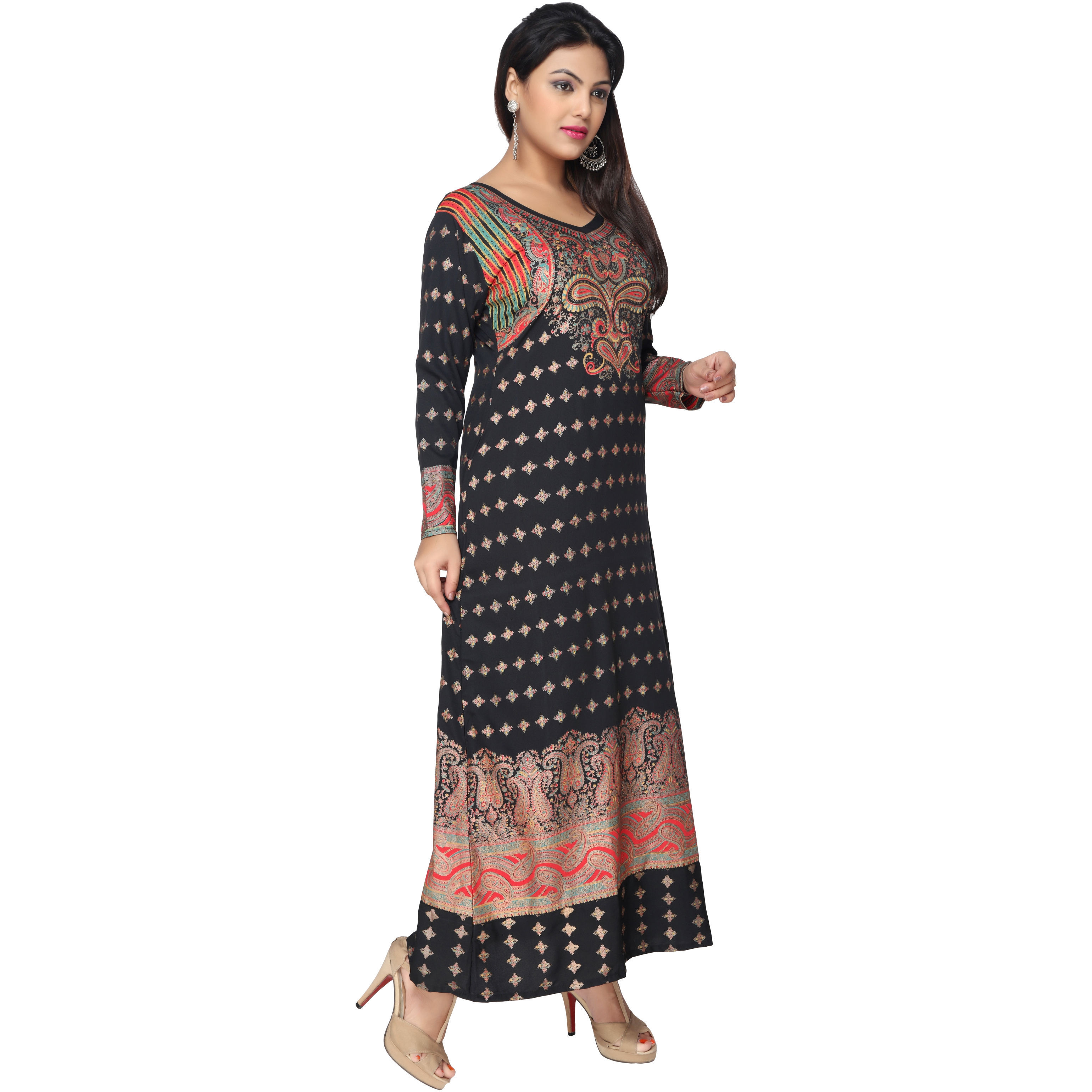 TrendyFashionMall Gold Print Kaftans Maxi Dresses with design in Front and Back (Color:TFMKFT01021-BLACK, Size:38 - SMALL)