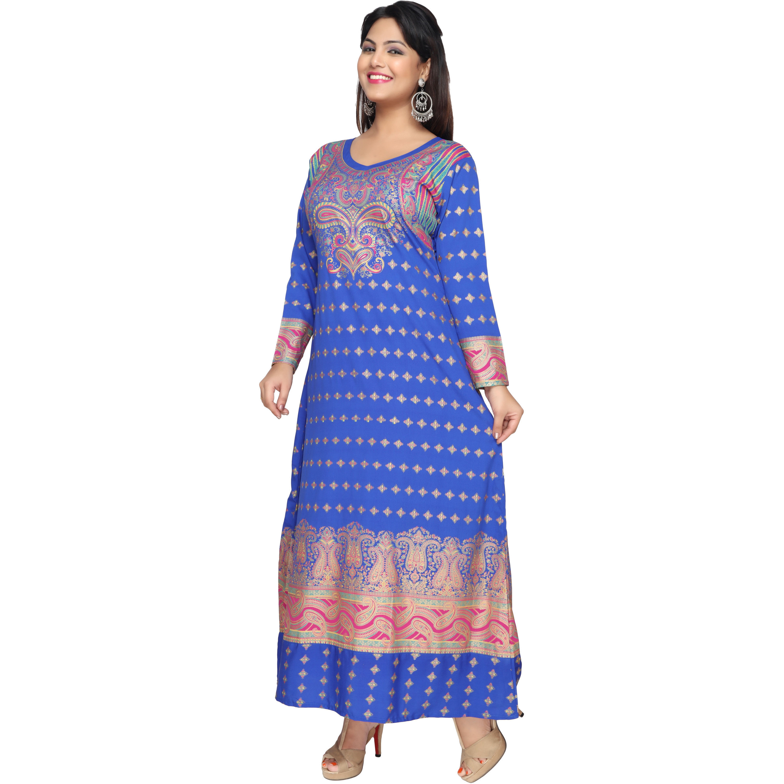 TrendyFashionMall Gold Print Kaftans Maxi Dresses with design in Front and Back (Color:TFMKFT01023-BLUE, Size:42 - LARGE)