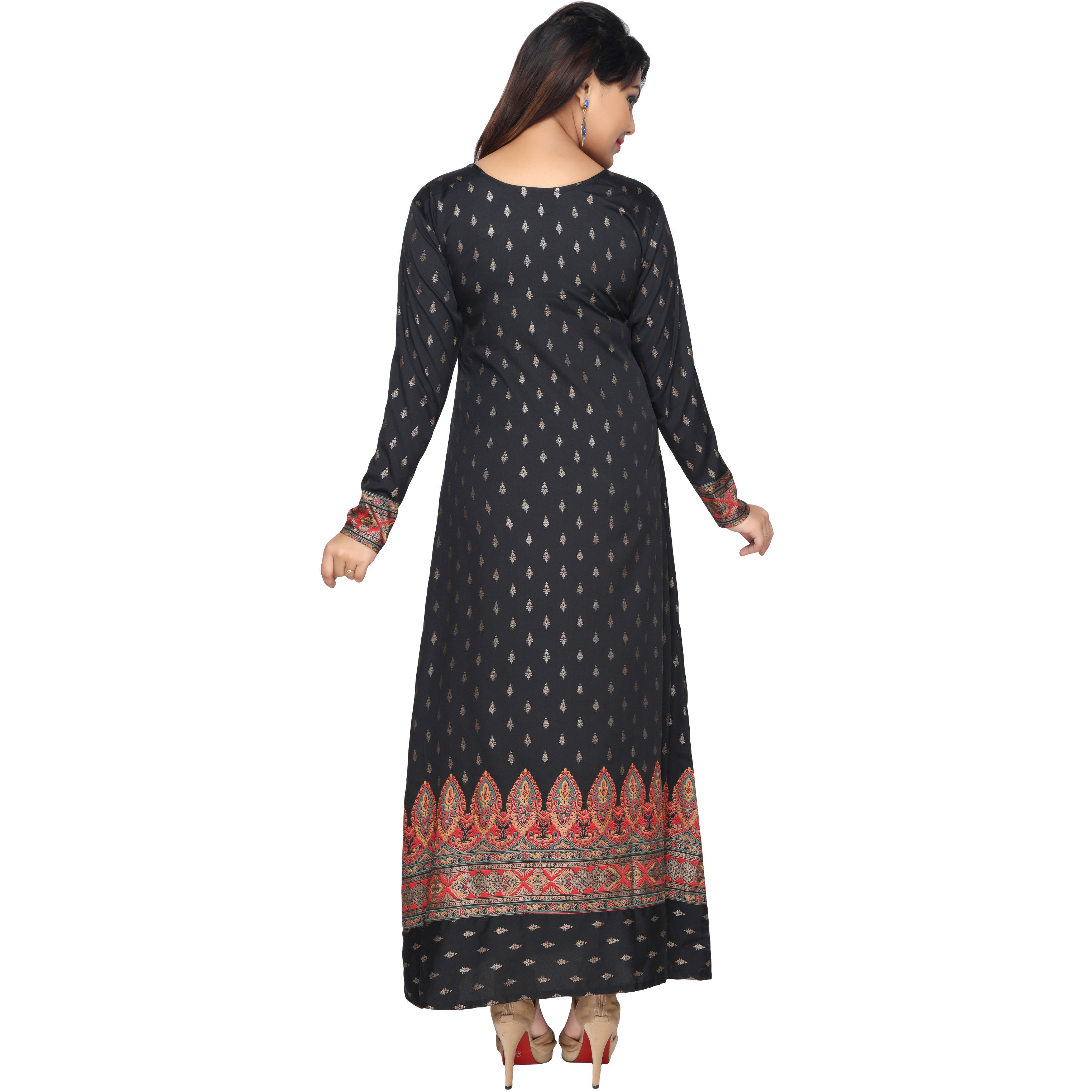 TrendyFashionMall Gold Print Kaftans Maxi Dresses with design in Front and Back (Color:TFMKFT01031-BLACK-RED, Size:52 - 5X-LARGE)