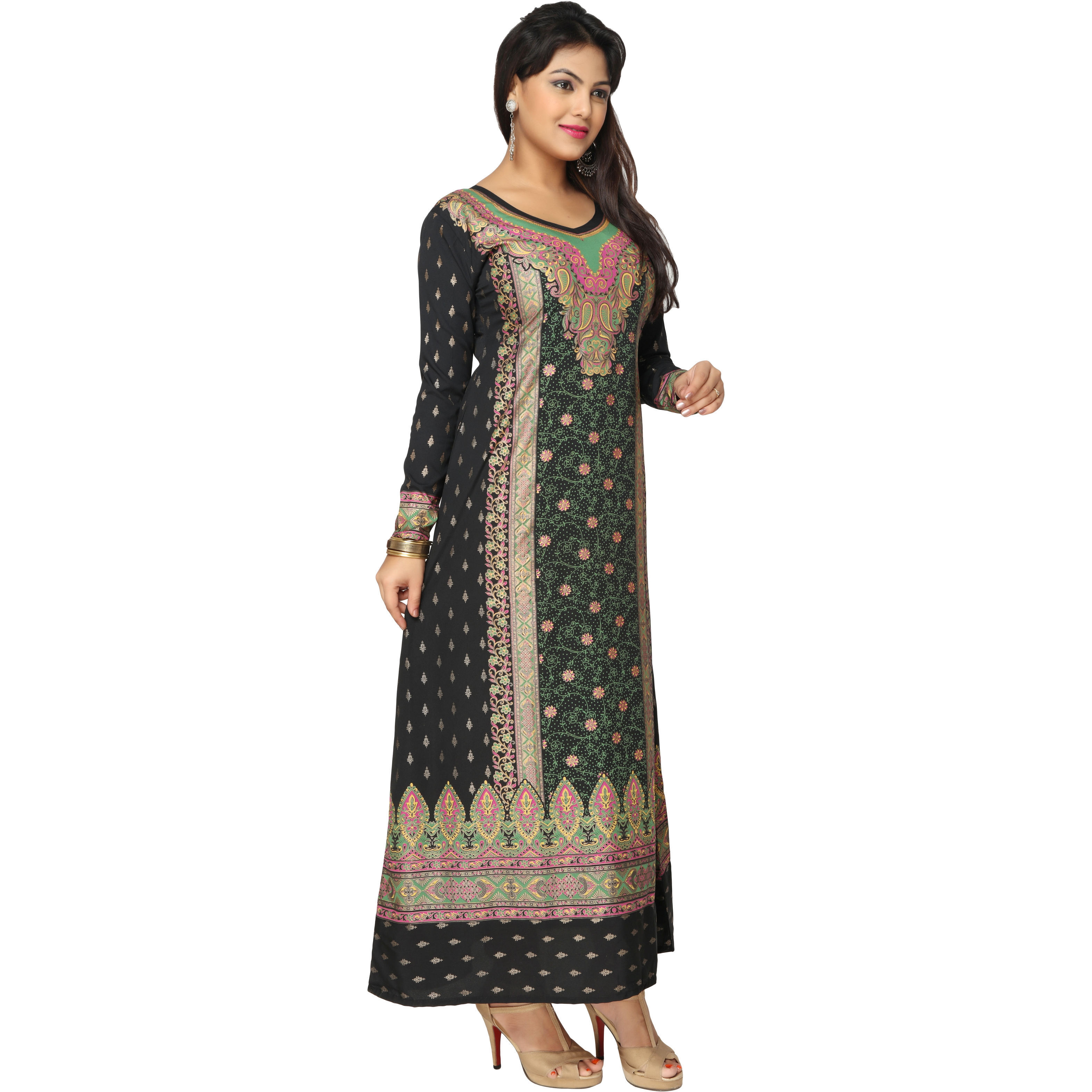 TrendyFashionMall Gold Print Kaftans Maxi Dresses with design in Front and Back (Color:TFMKFT01032-BLACK-GREEN, Size:52 - 5X-LARGE)