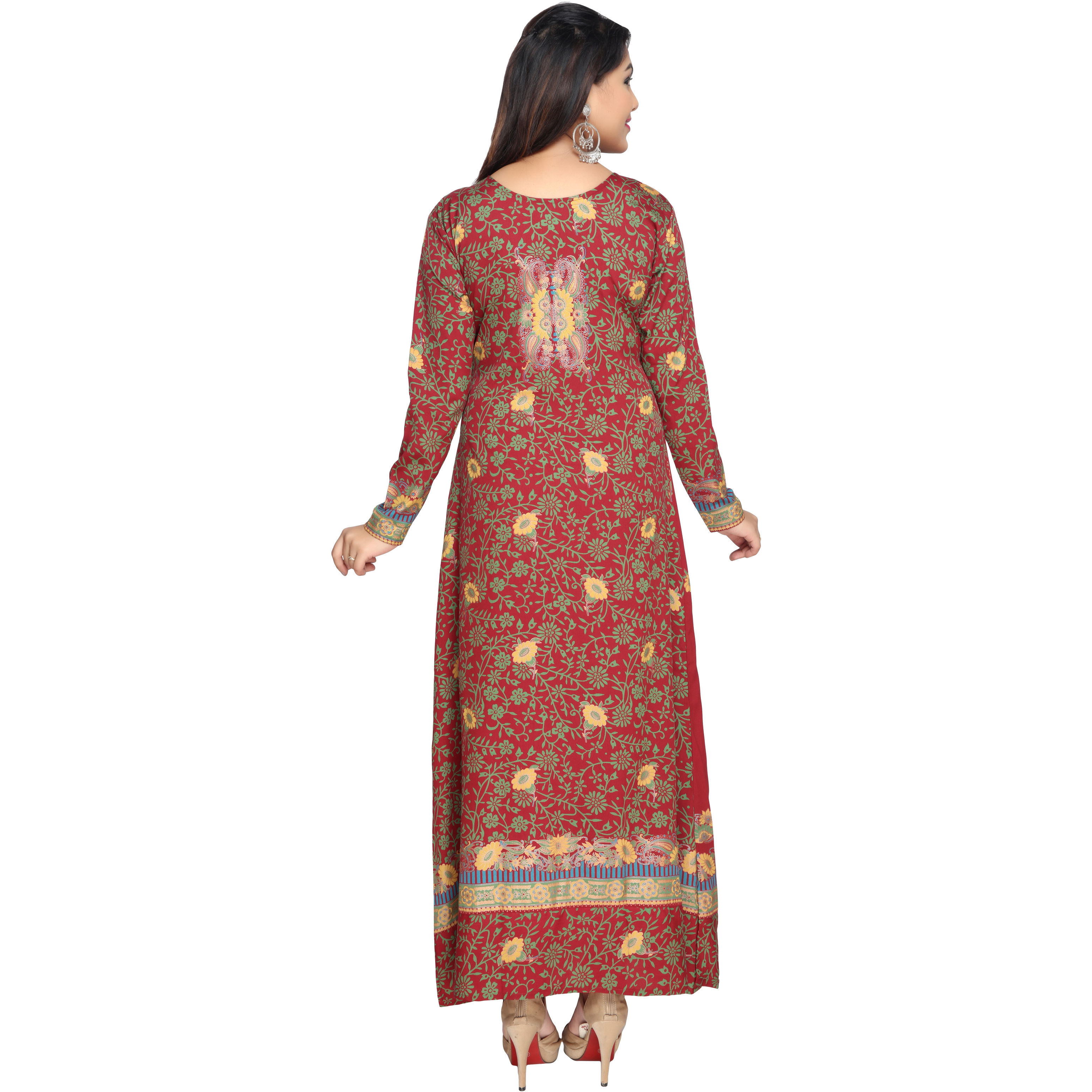TrendyFashionMall Gold Print Kaftans Maxi Dresses with design in Front and Back (Color:TFMKFT01044-REDMULTI, Size:52 - 5X-LARGE)