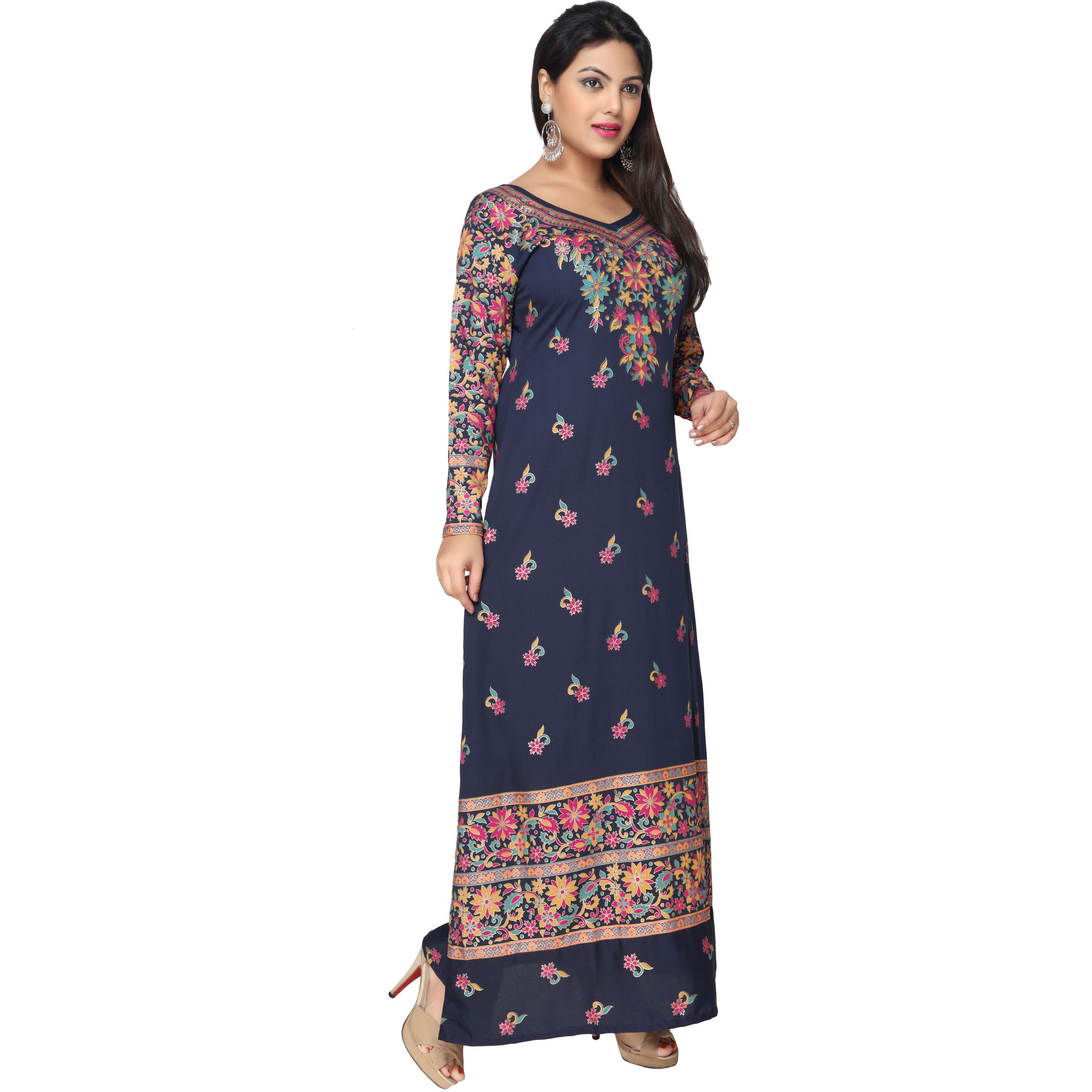 TrendyFashionMall Gold Print Kaftans Maxi Dresses with design in Front and Back (Color:TFMKFT01052-BLUEMULTI, Size:38 - SMALL)