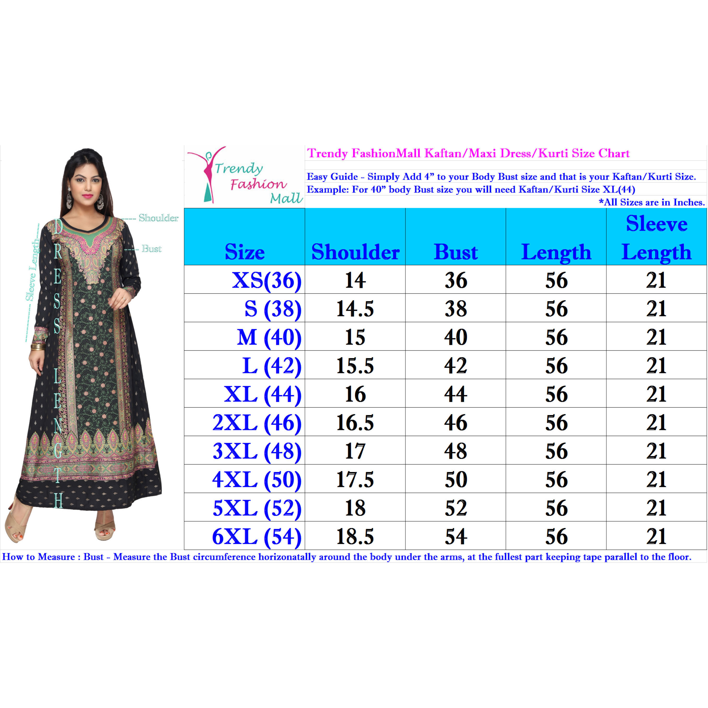 TrendyFashionMall Gold Print Kaftans Maxi Dresses with design in Front and Back (Color:TFMKFT01054-CYANMULTI, Size:42 - LARGE)