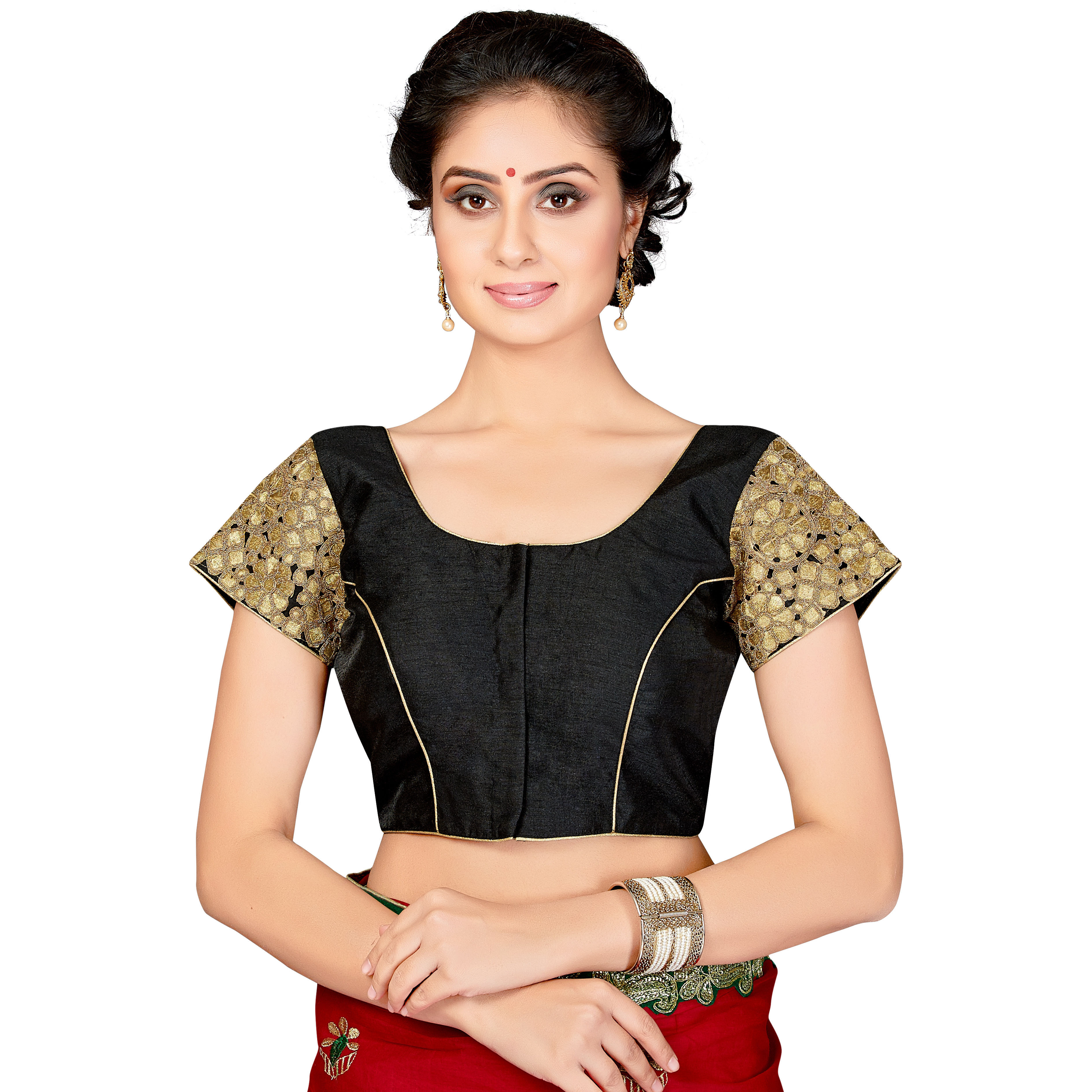 TrendyFashionMall Readymade Silk Blouse with Gold Patch work Black (Size:42 - LARGE)