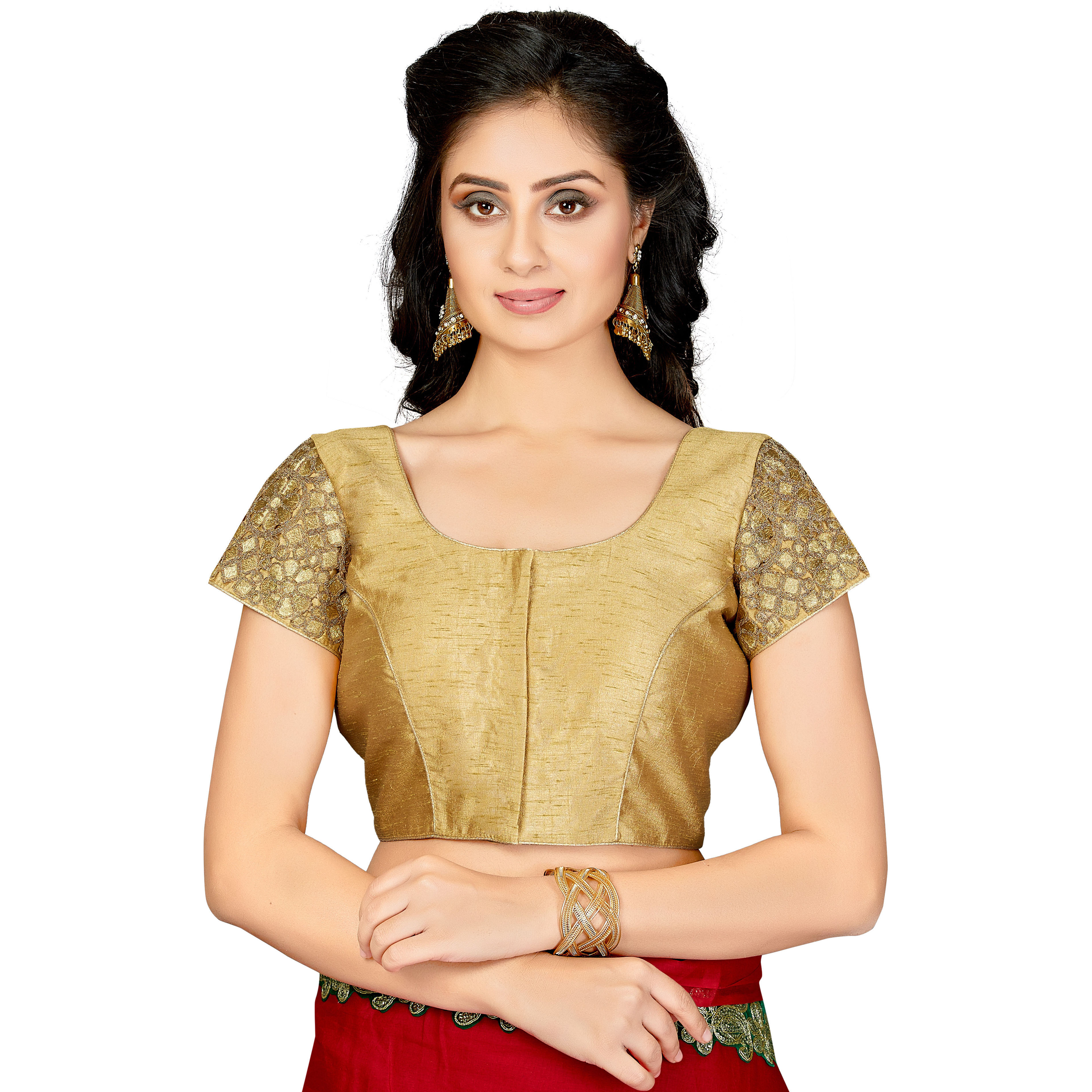 TrendyFashionMall Readymade Silk Blouse with Gold Patch work Gold (Size:38 - SMALL)