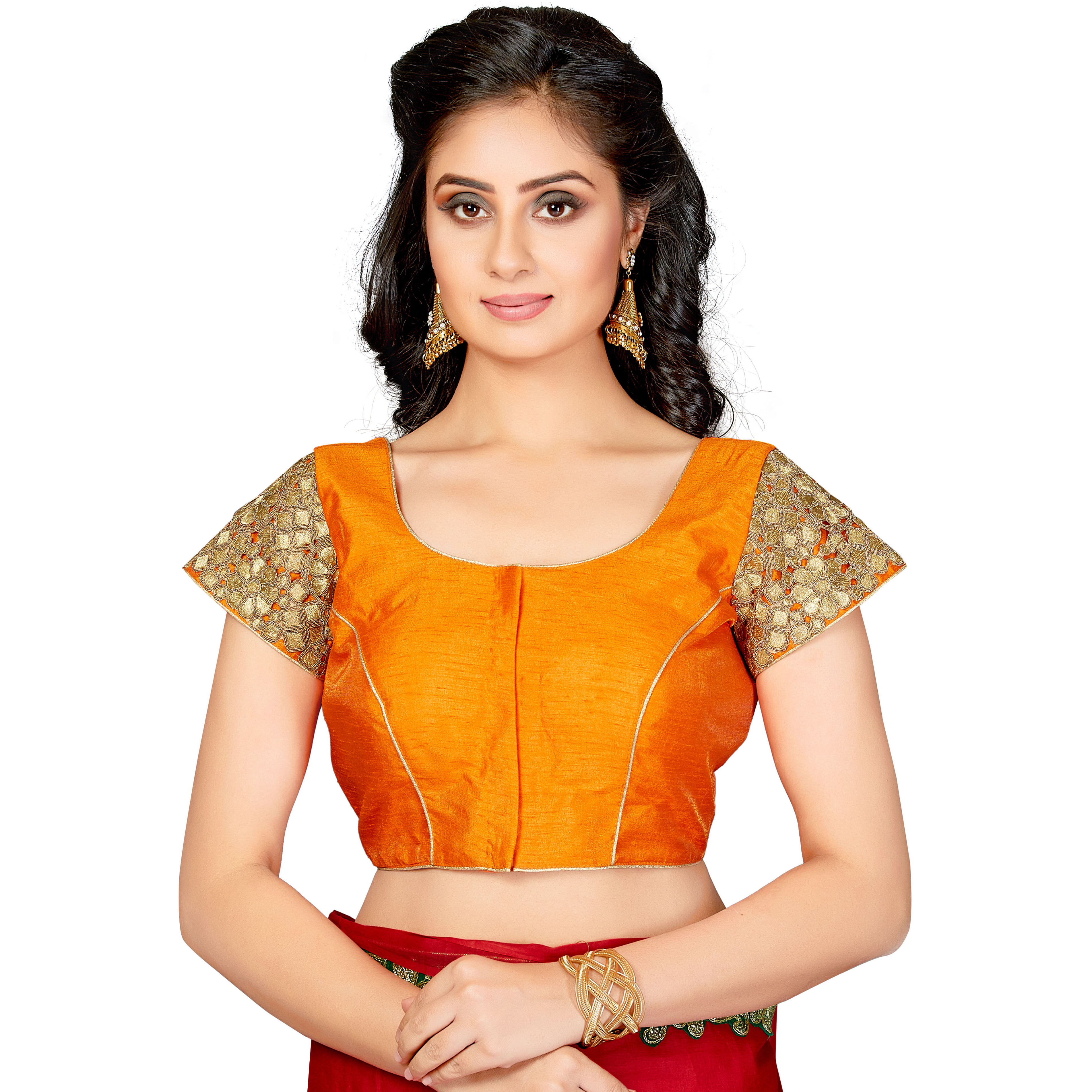 TrendyFashionMall Readymade Silk Blouse with Gold Patch work Orange (Size:38 - SMALL)