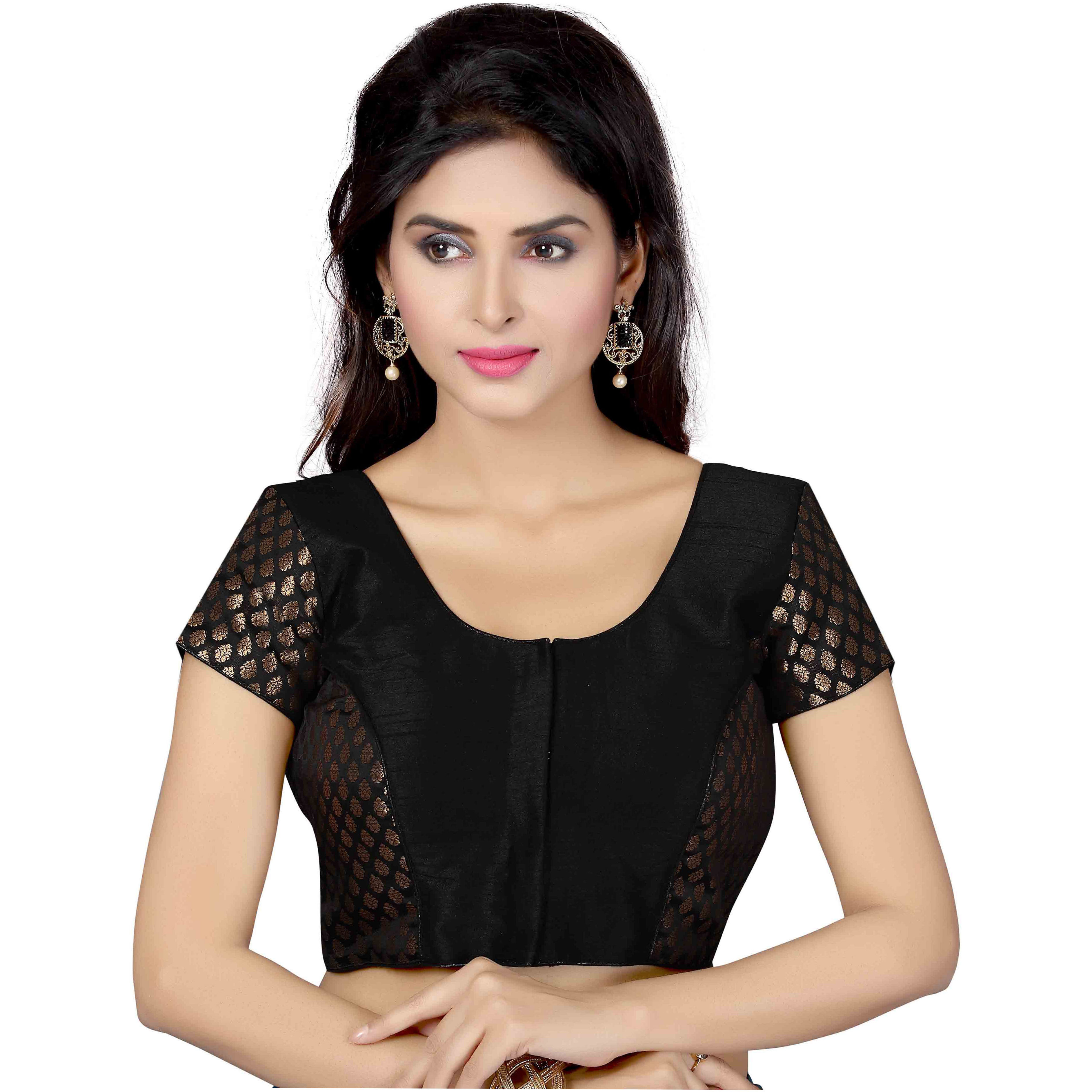 TrendyFashionMall Ready Made Designer Art Silk Saree Blouse Collection! (Color:BLACK, Size:LARGE - 42)