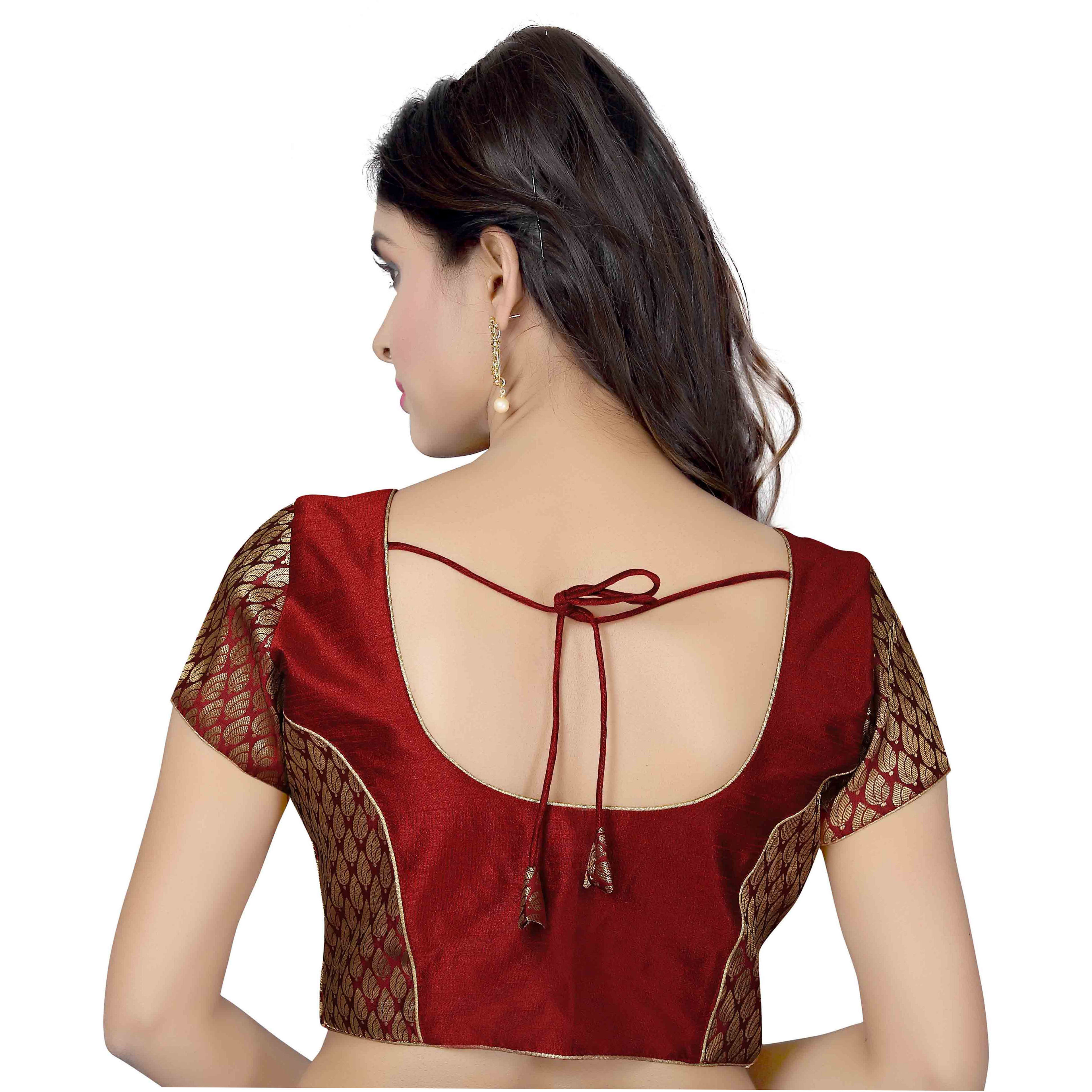 TrendyFashionMall Ready Made Designer Art Silk Saree Blouse Collection! (Color:MAROON, Size:X-LARGE - 44)