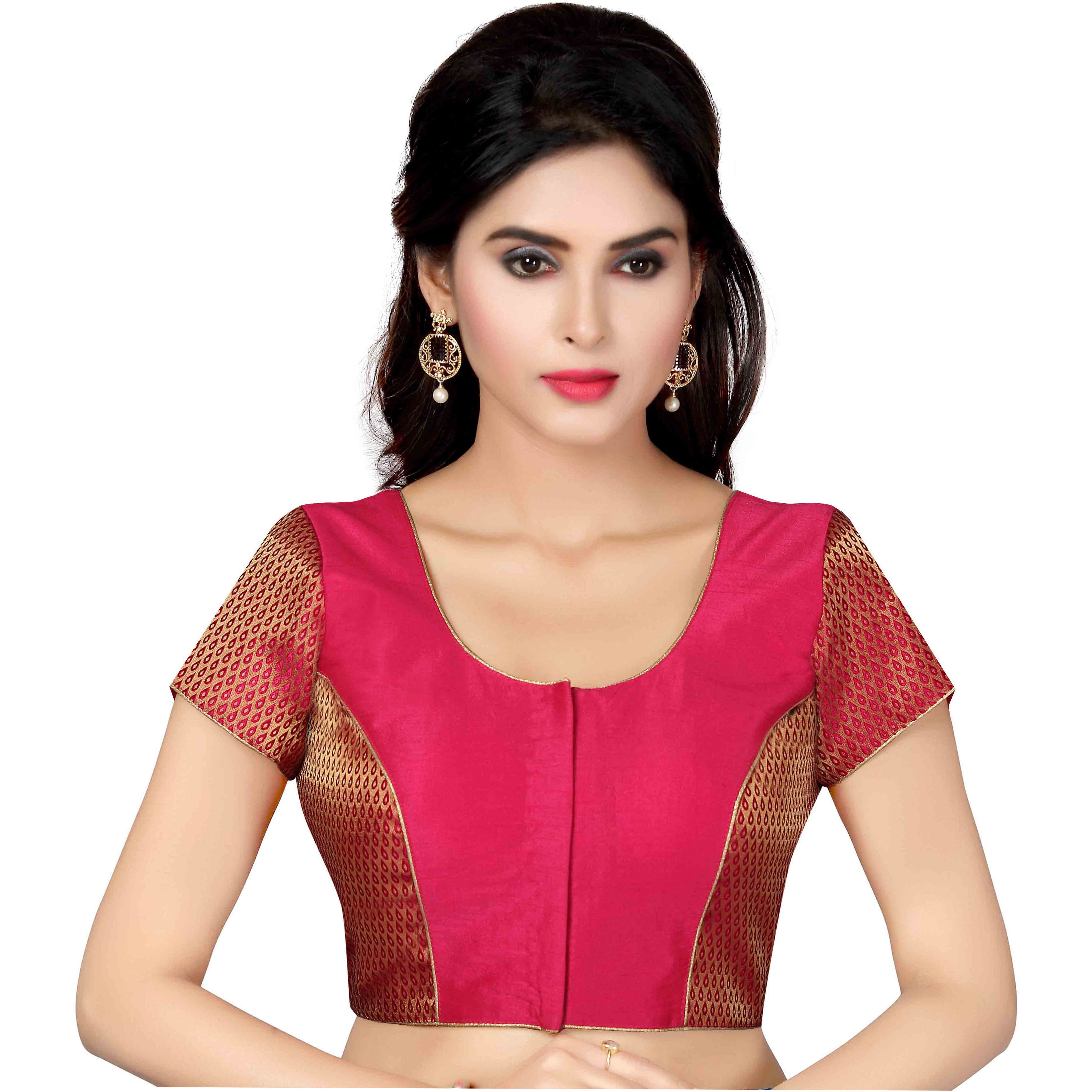 TrendyFashionMall Ready Made Designer Art Silk Saree Blouse Collection! (Color:PINK, Size:MEDIUM - 40)