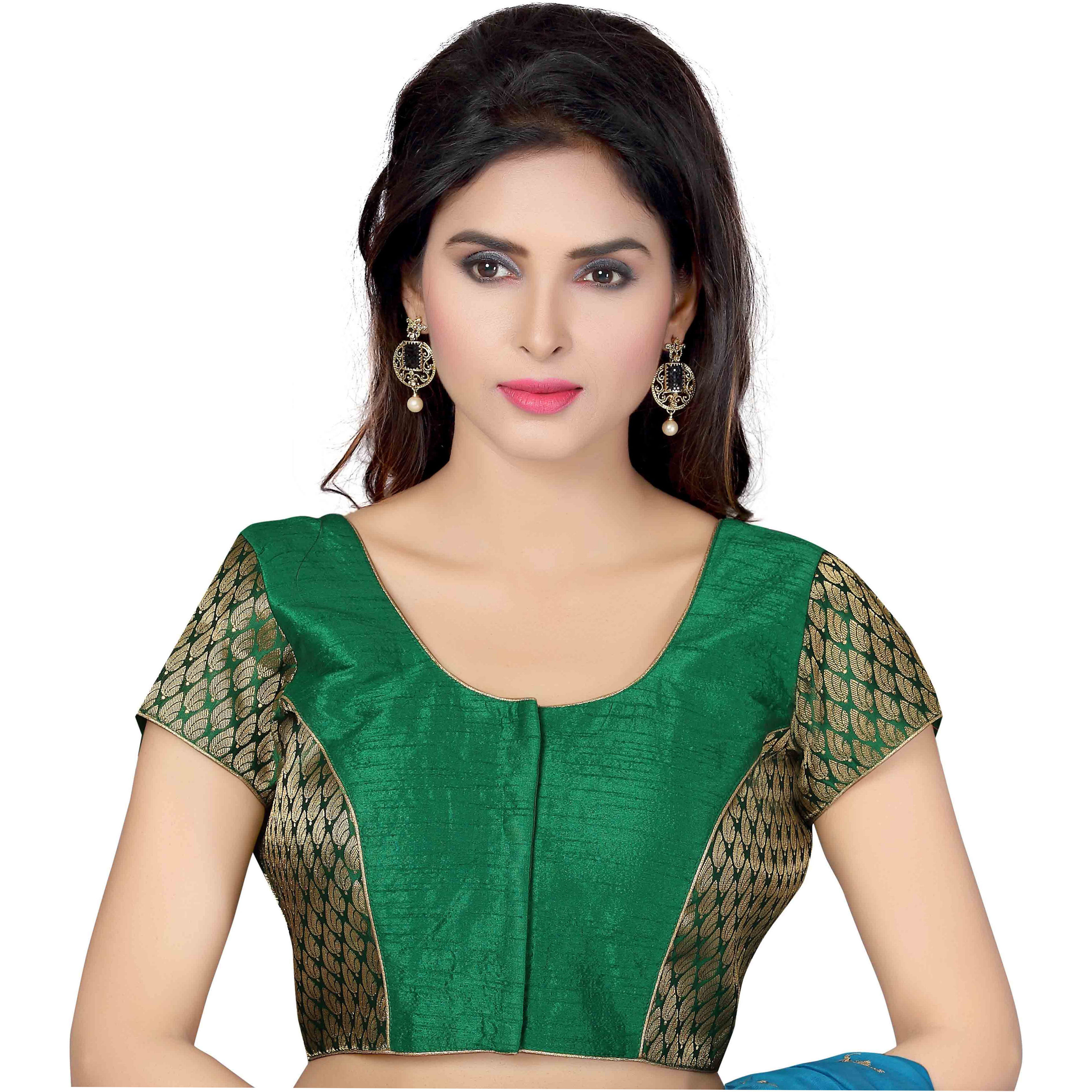 TrendyFashionMall Ready Made Designer Art Silk Saree Blouse Collection! (Color:GREEN, Size:MEDIUM - 40)